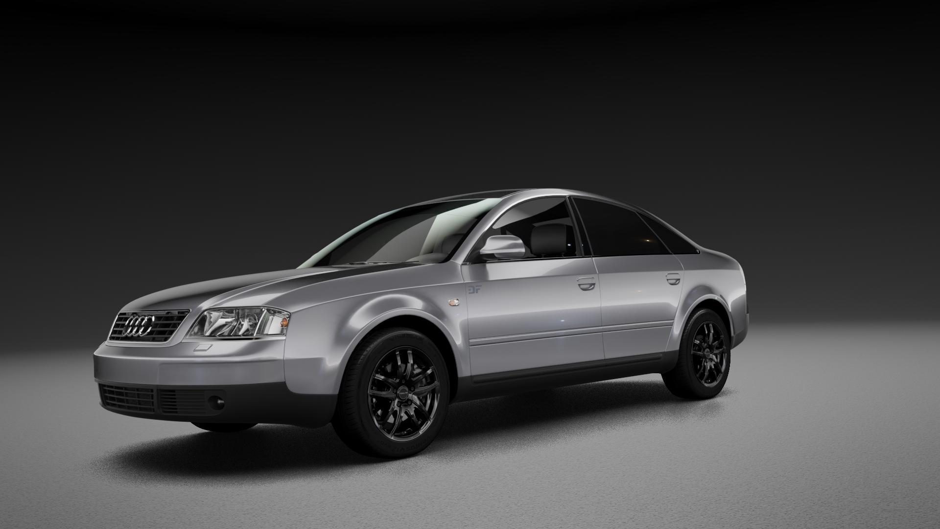 ProLine Wheels VX100 Black Matt Felge mit Reifen schwarz in 16Zoll Winterfelge Alufelge auf silbernem Audi A6 Typ 4B/C5 (Limousine) ⬇️ mit 15mm Tieferlegung ⬇️ Neutral_mid_max5300mm Frontansicht_1