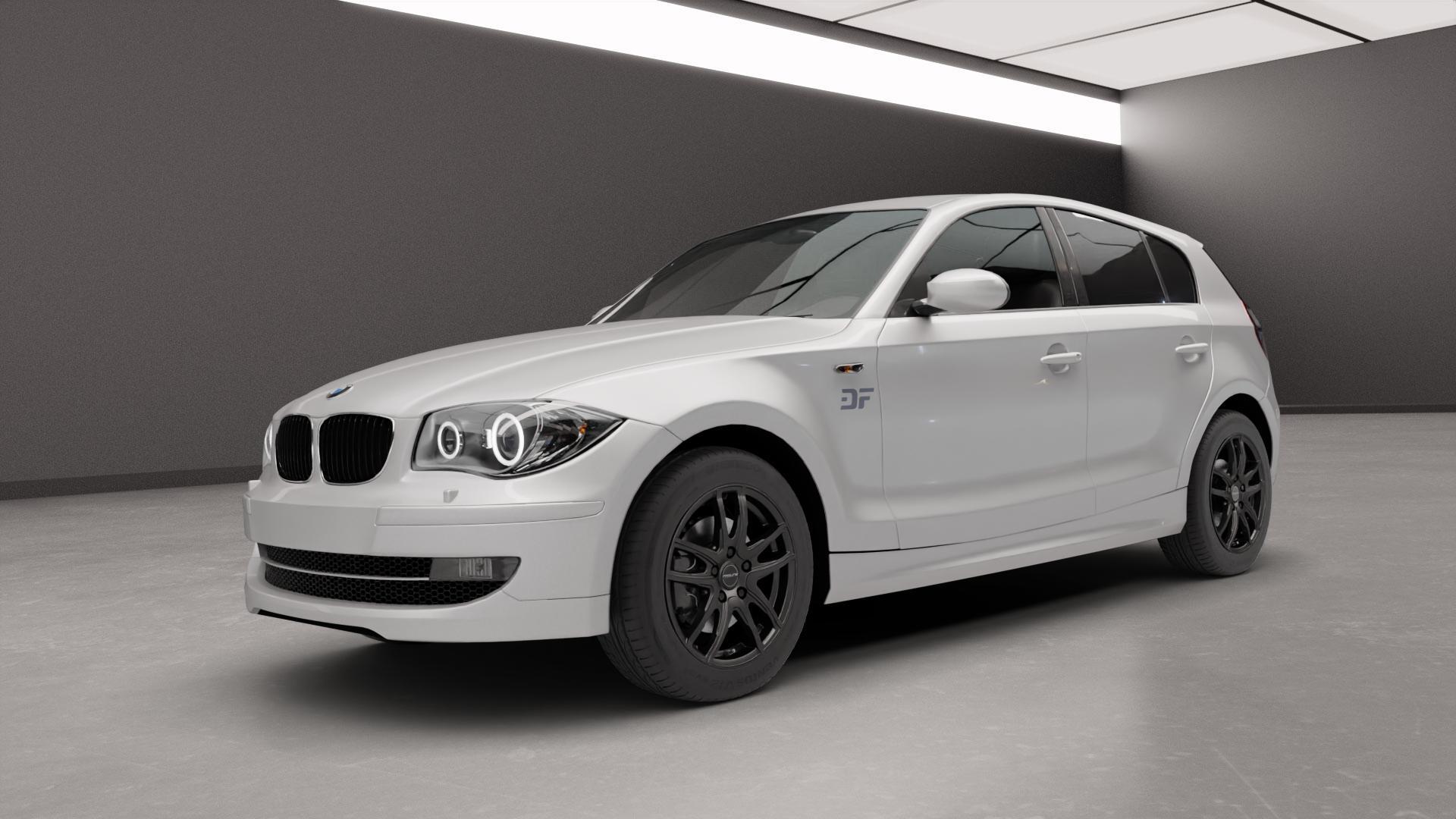ProLine Wheels VX100 Black Matt Felge mit Reifen schwarz in 16Zoll Winterfelge Alufelge auf silbernem BMW 116i Typ E87 120i 118d 120d 130i 118i 123d 116d ⬇️ mit 15mm Tieferlegung ⬇️ Neutral_near_max4650mm Frontansicht_1