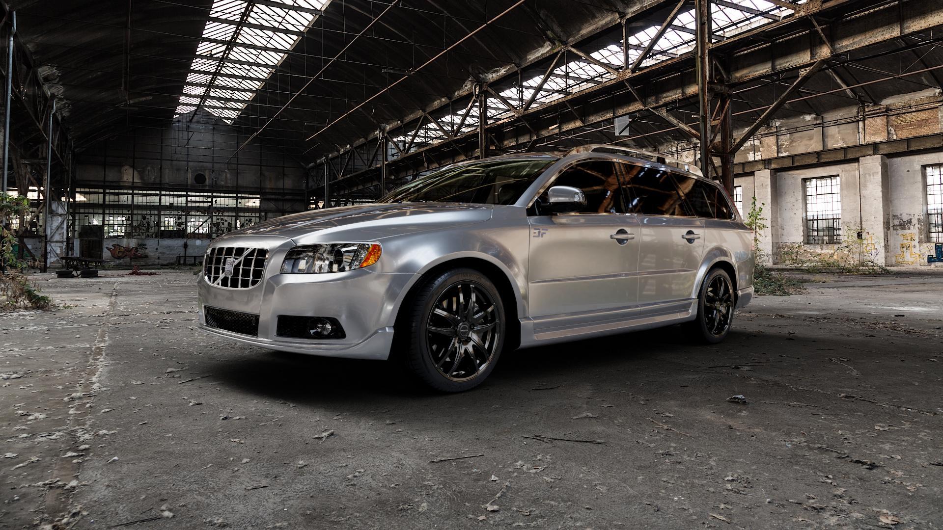 ProLine Wheels VX100 Black Matt Felge mit Reifen schwarz in 18Zoll Winterfelge Alufelge auf silbernem Volvo V70 III Typ B ⬇️ mit 15mm Tieferlegung ⬇️ Industriehalle 1 Camera_000