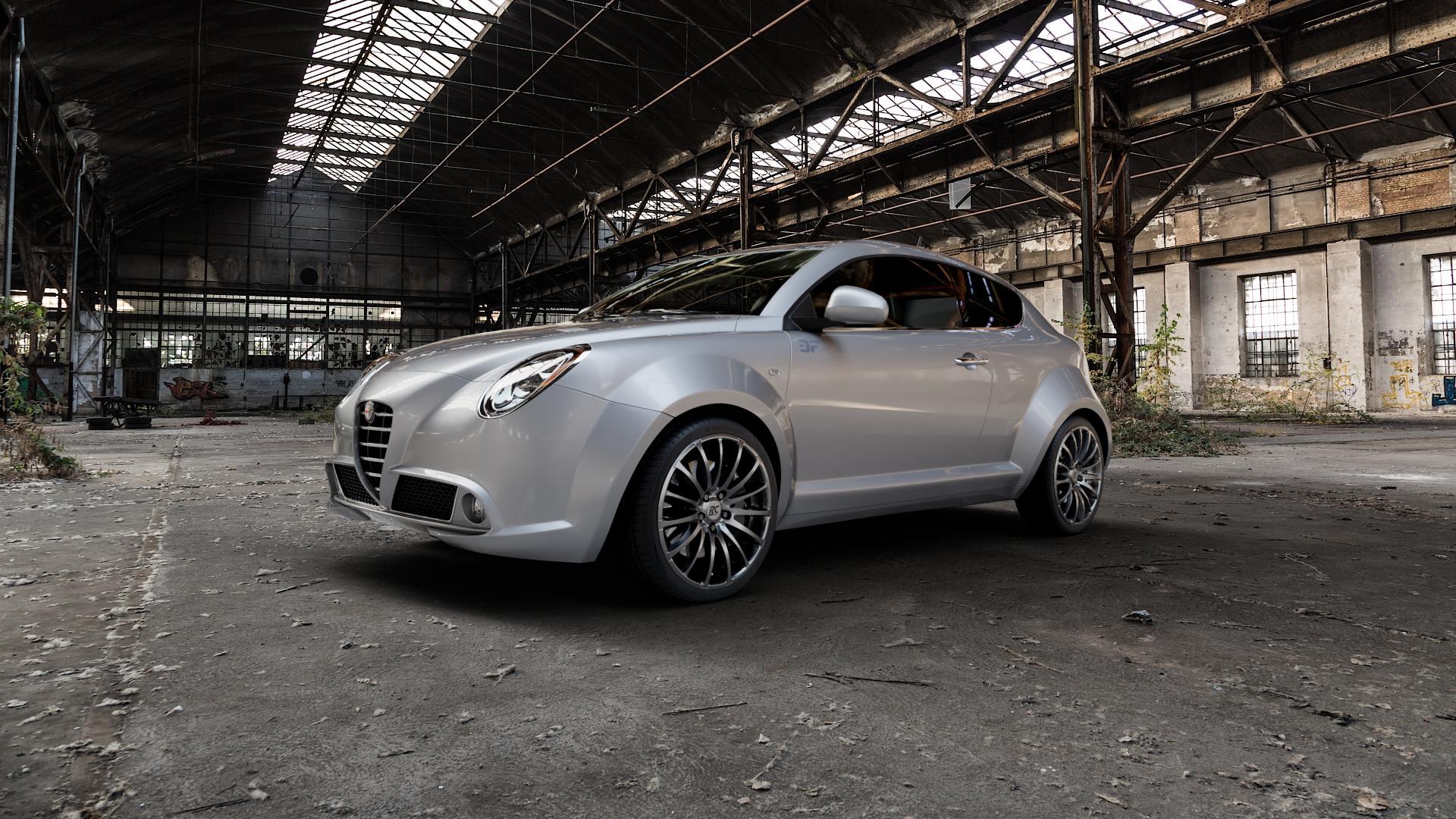 RC Design RC18 titan-metallic lackiert Felge mit Reifen grau in 18Zoll Winterfelge Alufelge auf silbernem Alfa Romeo Mito Typ 955 ⬇️ mit 15mm Tieferlegung ⬇️ Industriehalle 1 Camera_000