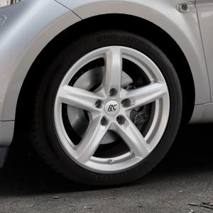RC Design RC24 kristallsilber lackiert Felge mit Reifen in 16Zoll Winterfelge Alufelge auf silbernem Smart Fortwo Coupe III (14-) (453) Cabrio (16-) ⬇️ mit 15mm Tieferlegung ⬇️ Industriehalle 1 Thumbnail
