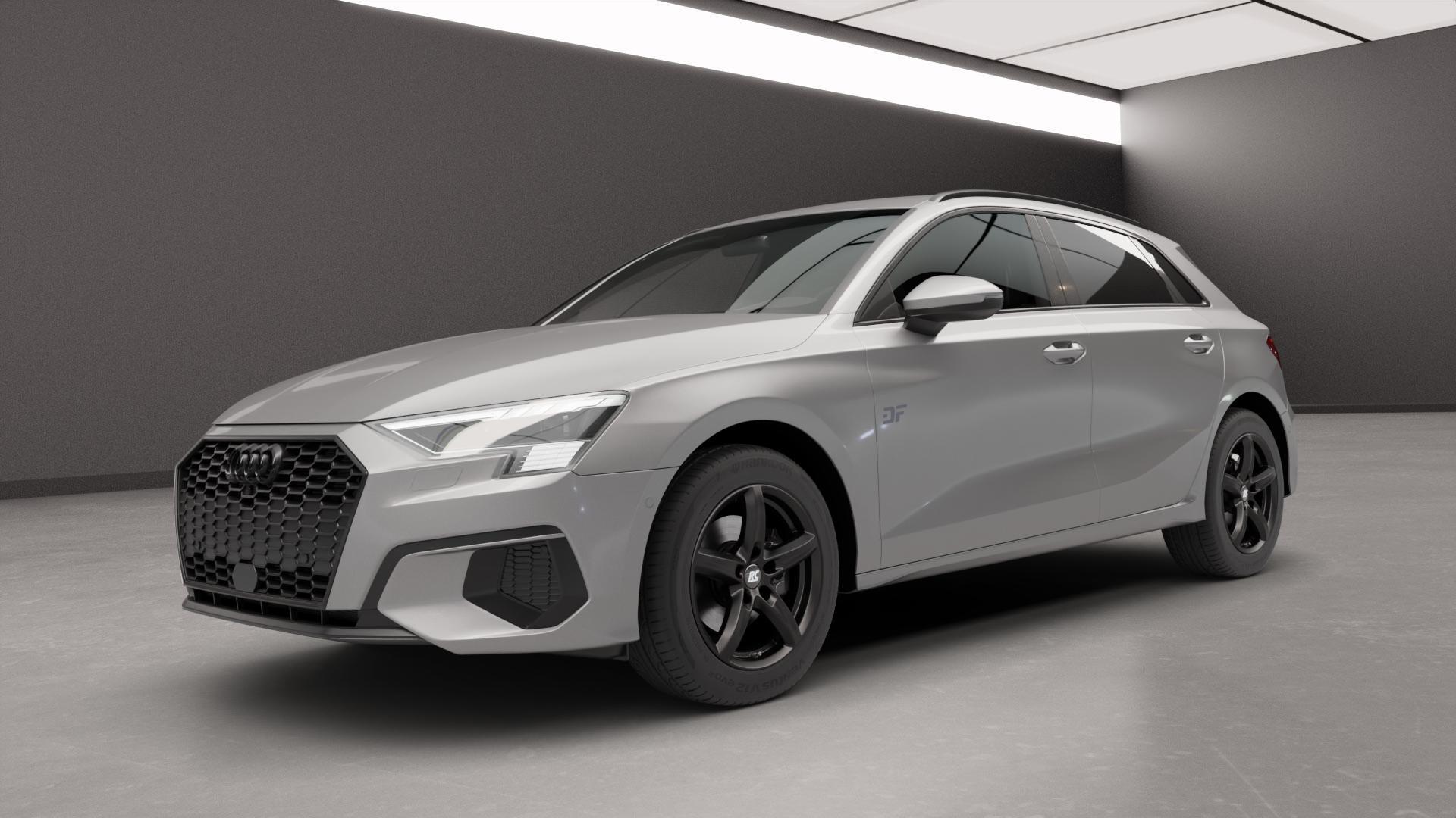 RC Design RC24 schwarz-matt lackiert Felge mit Reifen in 16Zoll Winterfelge Alufelge auf silbernem Audi A3 Typ GY (Sportback) ⬇️ mit 15mm Tieferlegung ⬇️ Neutral_near_max4650mm Frontansicht_1