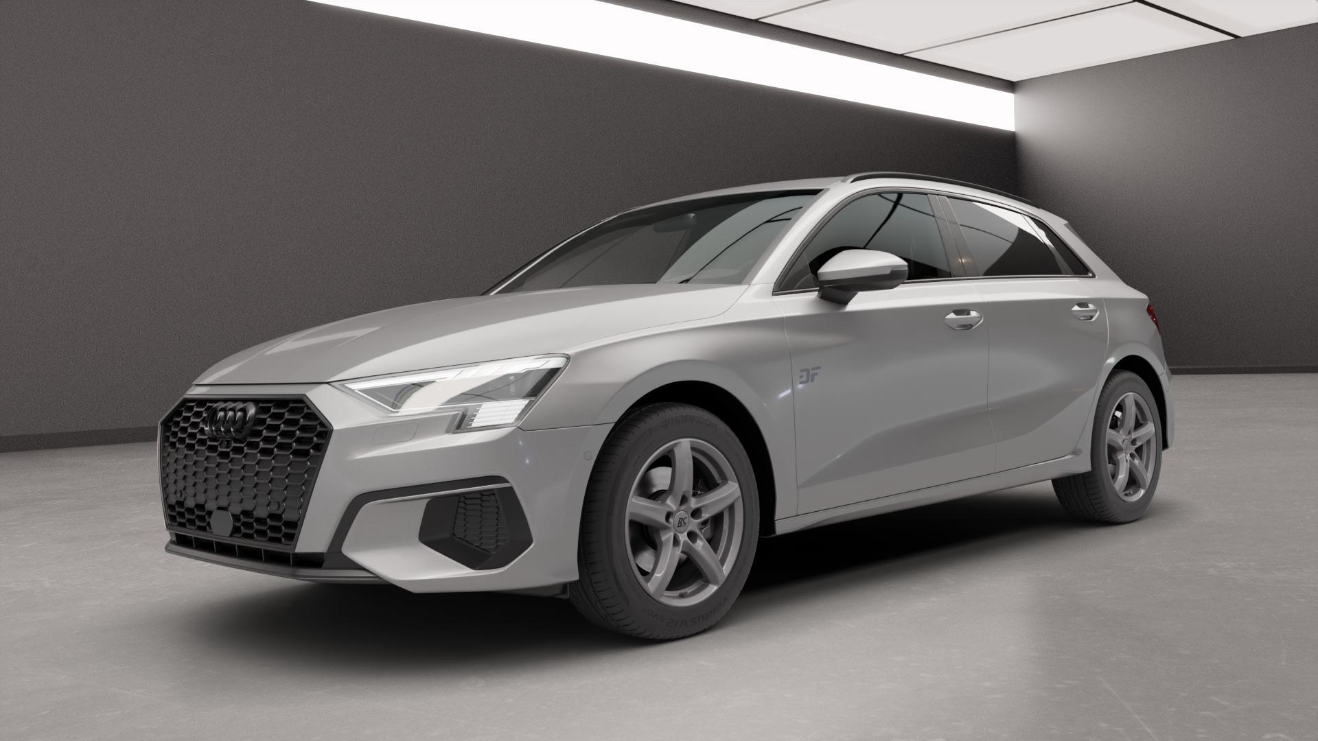 RC Design RC24 titan-metallic lackiert Felge mit Reifen grau in 16Zoll Winterfelge Alufelge auf silbernem Audi A3 Typ GY (Sportback) ⬇️ mit 15mm Tieferlegung ⬇️ Neutral_near_max4650mm Frontansicht_1