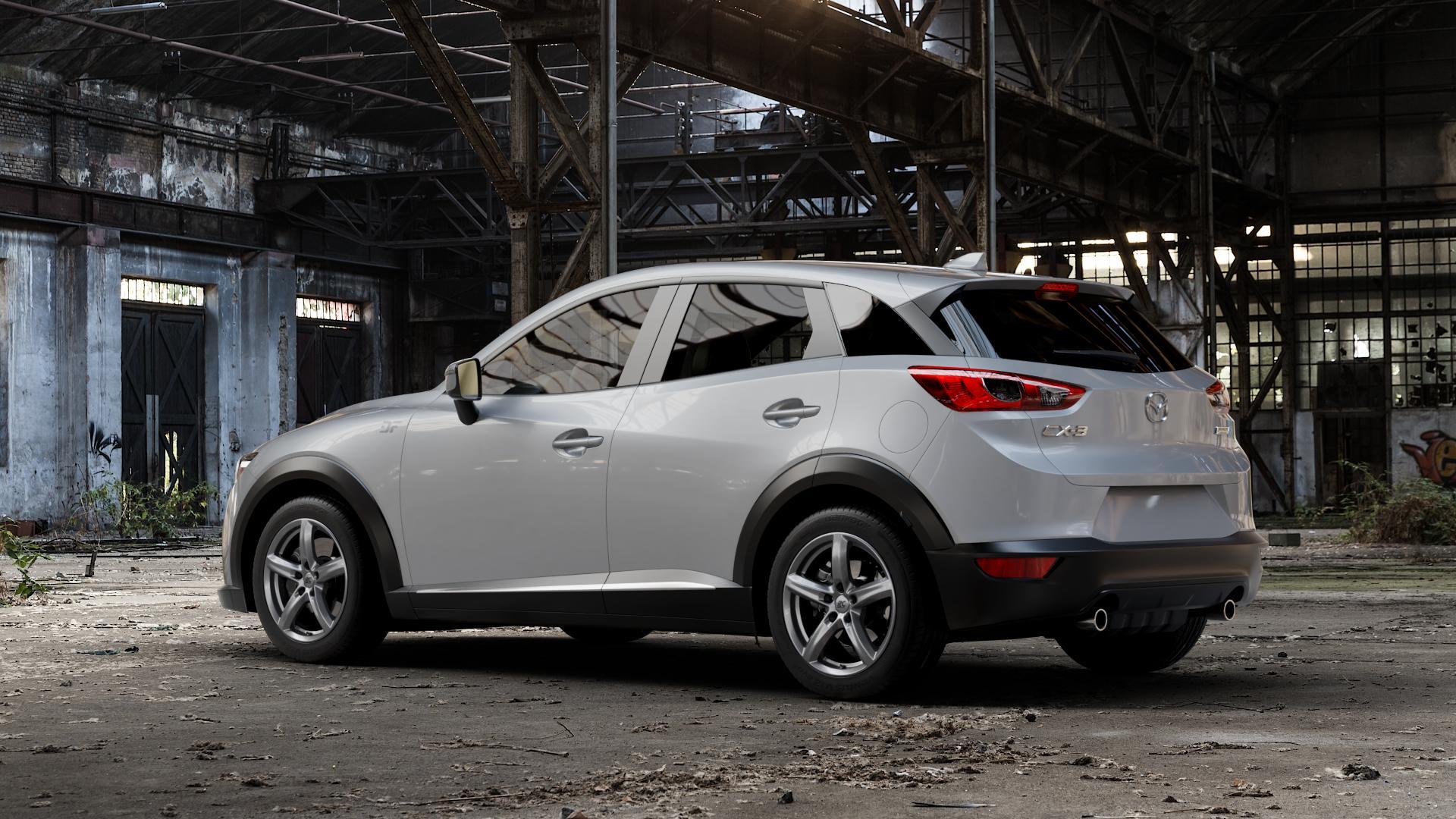 RC Design RC24 titan-metallic lackiert Felge mit Reifen grau in 17Zoll Winterfelge Alufelge auf silbernem Mazda CX-3 Typ DJ1 ⬇️ mit 15mm Tieferlegung ⬇️ Industriehalle 1 Camera_001