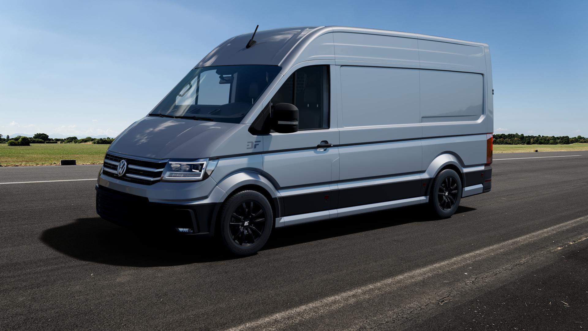 RC Design RC25T schwarz-matt lackiert Felge mit Reifen in 16Zoll Winterfelge Alufelge auf silbernem Volkswagen (VW) Crafter Typ SYN1E SZN1E SYN2E SZN2E ⬇️ mit 15mm Tieferlegung ⬇️ Big_Vehicle_Airstrip_1 Frontansicht_1