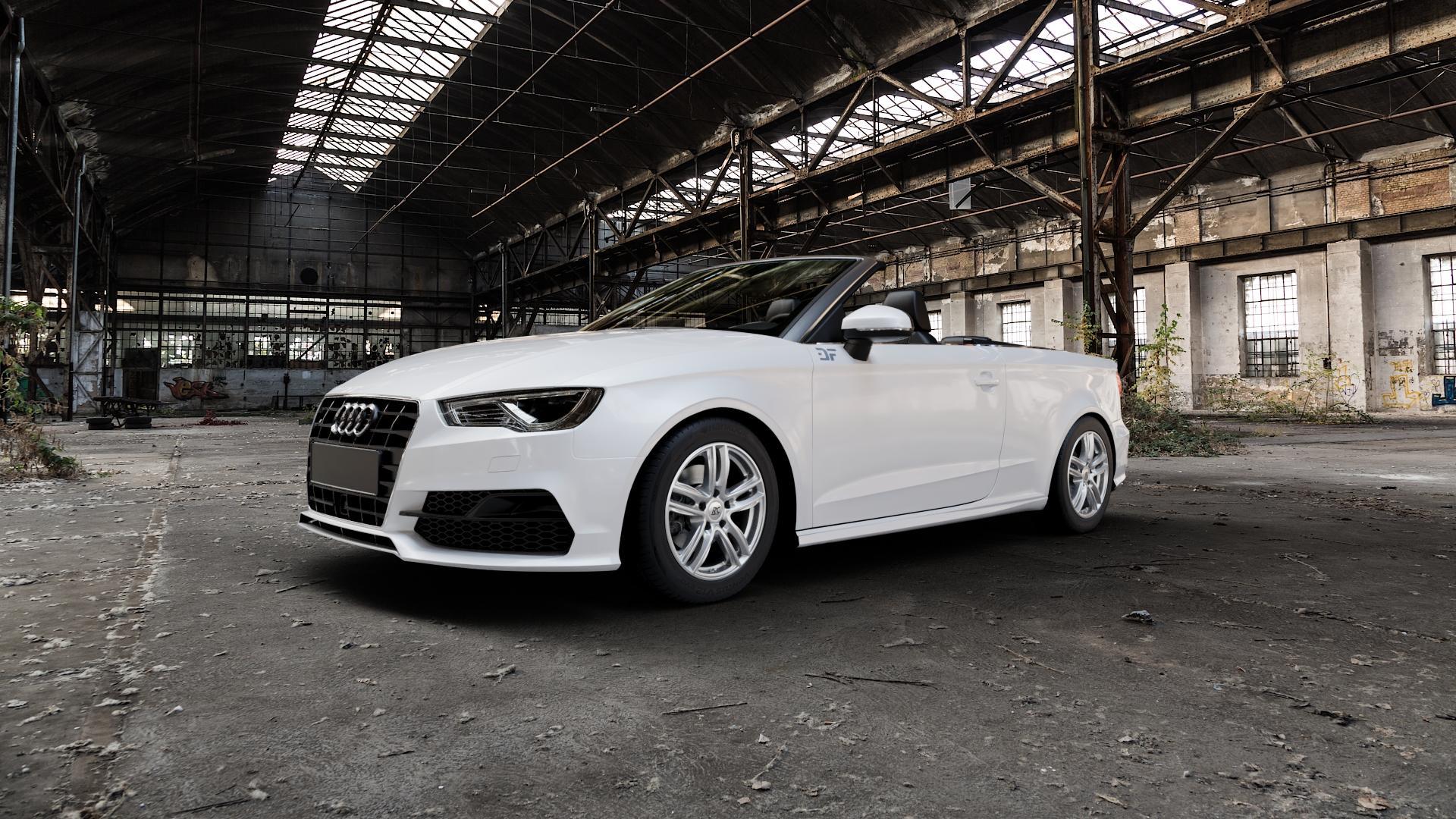RC Design RC27 kristallsilber lackiert Felge mit Reifen in 16Zoll Winterfelge Alufelge auf weissem Audi A3 Typ 8V (Cabriolet) ⬇️ mit 15mm Tieferlegung ⬇️ Industriehalle 1 Camera_000
