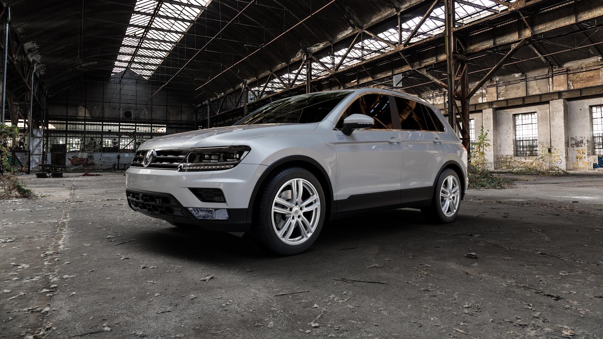 RC Design RC27 kristallsilber lackiert Felge mit Reifen in 19Zoll Winterfelge Alufelge auf silbernem Volkswagen (VW) Tiguan II Typ 5N ⬇️ mit 15mm Tieferlegung ⬇️ Industriehalle 1 Camera_000