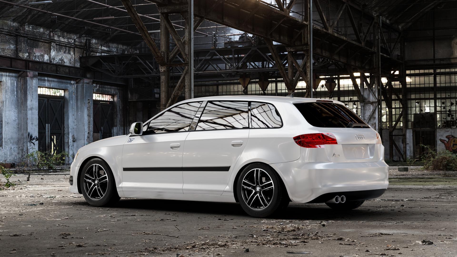 RC Design RC27 schwarz front-poliert Felge mit Reifen silber mehrfarbig in 16Zoll Winterfelge Alufelge auf weissem Audi A3 Typ 8P (Sportback) 1,6l 75kW (102 PS) 2,0l FSI 110kW (150 1,9l TDI 77kW (105 103kW (140 TFSI 147kW (200 85kW (116 100kW (136 1,8l 118kW (160 125kW (170 1,4l 92kW (125 120kW (163 quattro 3,2l V6 184kW (250 S3 195kW (265 1,2l 66kW (90 18