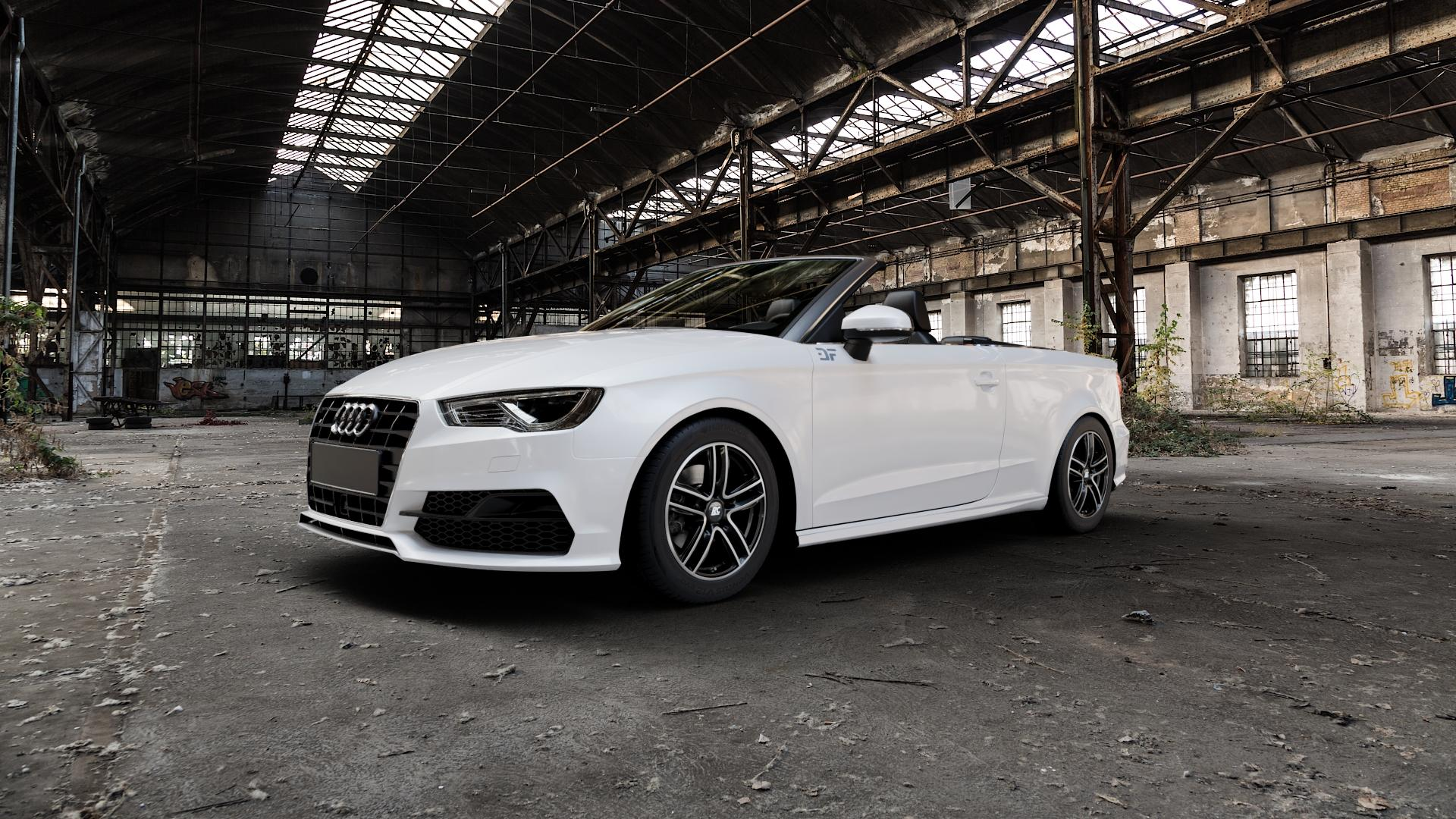 RC Design RC27 schwarz front-poliert Felge mit Reifen silber mehrfarbig in 16Zoll Winterfelge Alufelge auf weissem Audi A3 Typ 8V (Cabriolet) ⬇️ mit 15mm Tieferlegung ⬇️ Industriehalle 1 Camera_000