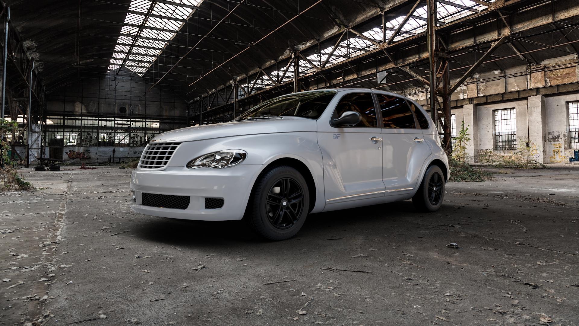 RC Design RC27 schwarz-matt lackiert Felge mit Reifen in 15Zoll Winterfelge Alufelge auf silbernem Chrysler PT Cruiser Cabriolet ⬇️ mit 15mm Tieferlegung ⬇️ Industriehalle 1 Camera_000
