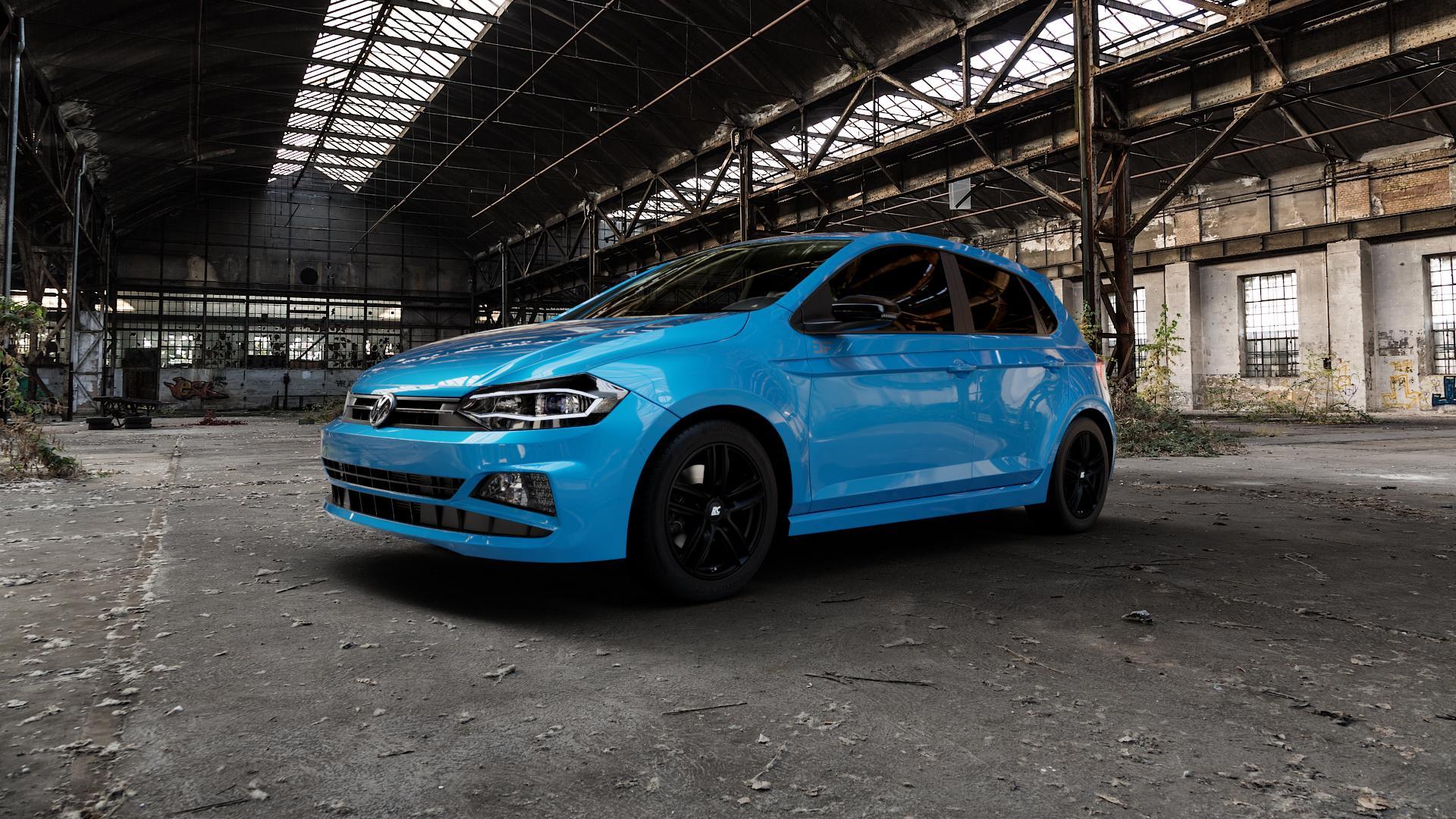 RC Design RC27 schwarz-matt lackiert Felge mit Reifen in 16Zoll Winterfelge Alufelge auf hellblau Volkswagen (VW) Polo VI Typ AW ⬇️ mit 15mm Tieferlegung ⬇️ Industriehalle 1 Camera_000