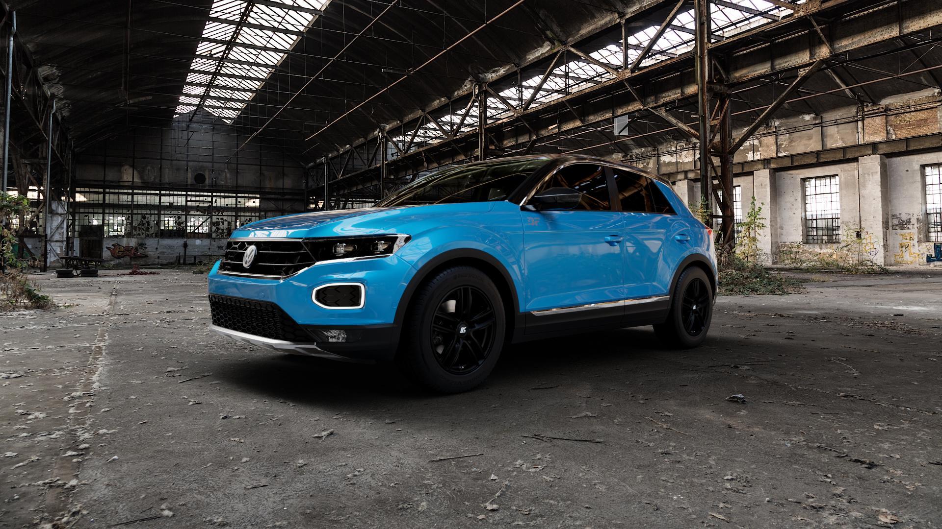 RC Design RC27 schwarz-matt lackiert Felge mit Reifen in 16Zoll Winterfelge Alufelge auf hellblau Volkswagen (VW) T-Roc ⬇️ mit 15mm Tieferlegung ⬇️ Industriehalle 1 Camera_000