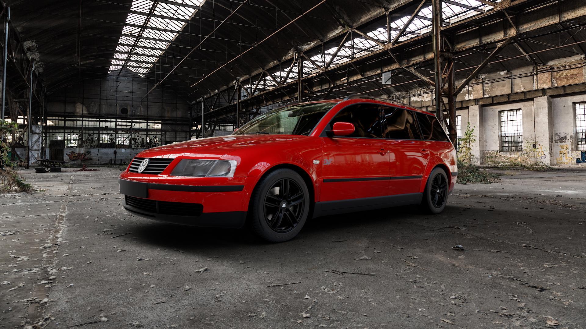 RC Design RC27 schwarz-matt lackiert Felge mit Reifen in 16Zoll Winterfelge Alufelge auf rotem Volkswagen (VW) Passat 3B Limousine Variant ⬇️ mit 15mm Tieferlegung ⬇️ Industriehalle 1 Camera_000