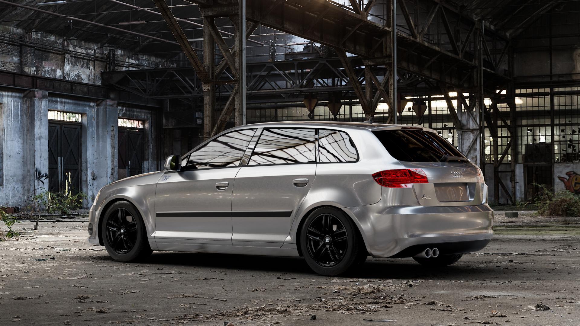 RC Design RC27 schwarz-matt lackiert Felge mit Reifen in 16Zoll Winterfelge Alufelge auf silbernem Audi A3 Typ 8P (Sportback) 1,6l 75kW (102 PS) 2,0l FSI 110kW (150 1,9l TDI 77kW (105 103kW (140 TFSI 147kW (200 85kW (116 100kW (136 1,8l 118kW (160 125kW (170 1,4l 92kW (125 120kW (163 quattro 3,2l V6 184kW (250 S3 195kW (265 1,2l 66kW (90