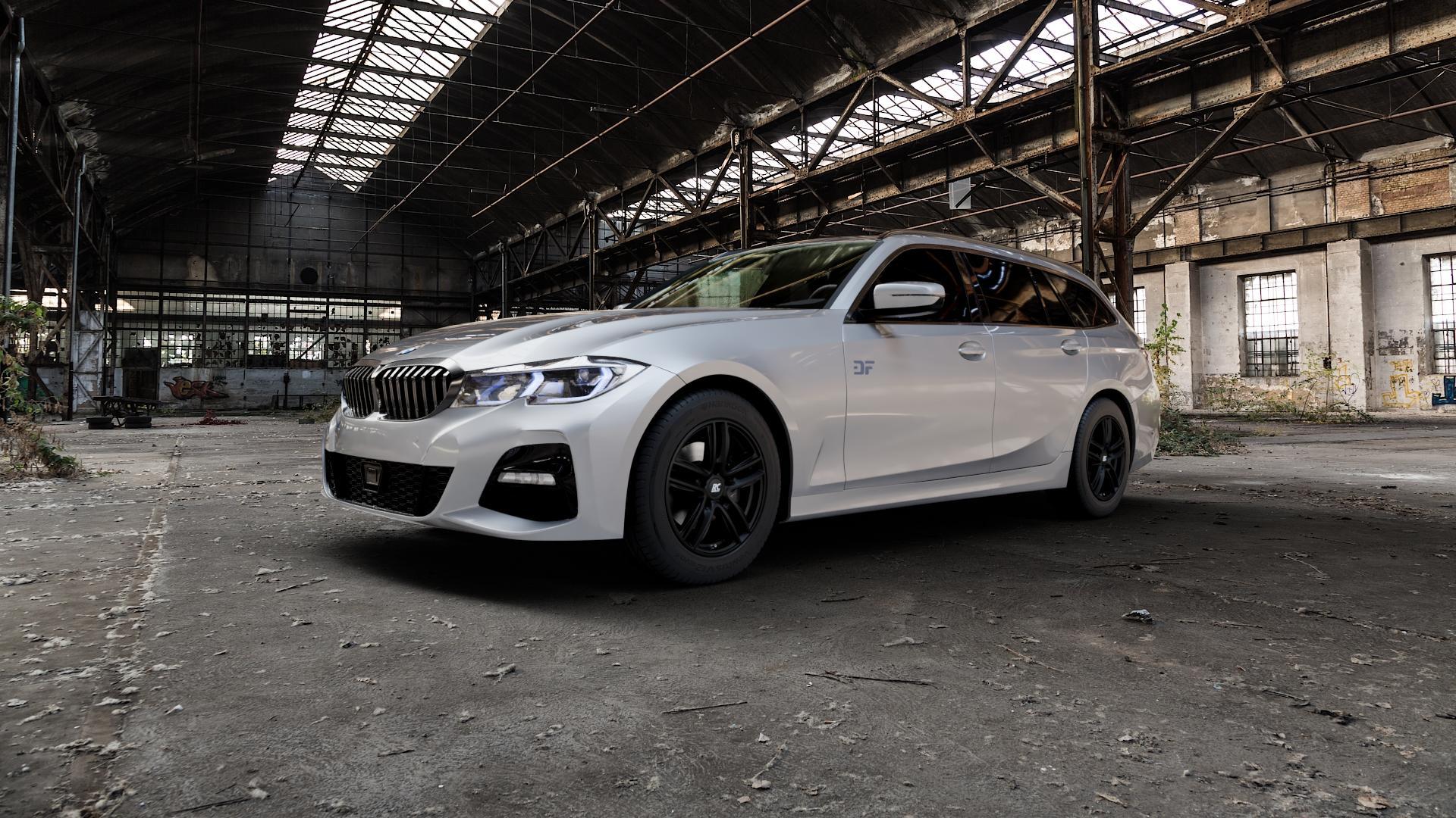 RC Design RC27 schwarz-matt lackiert Felge mit Reifen in 16Zoll Winterfelge Alufelge auf silbernem BMW 3er G21 Touring (G3K) ⬇️ mit 15mm Tieferlegung ⬇️ Industriehalle 1 Camera_000