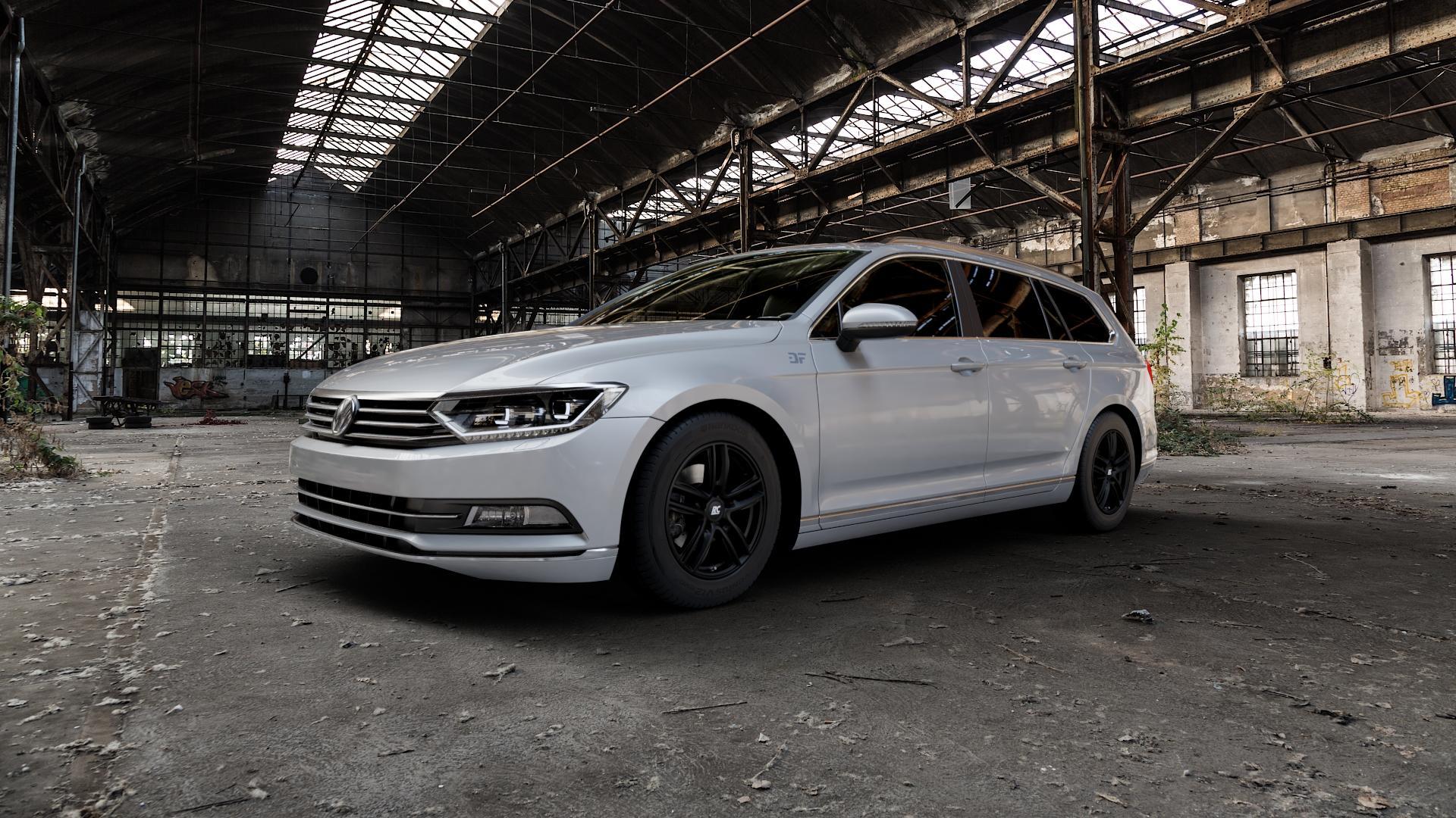 RC Design RC27 schwarz-matt lackiert Felge mit Reifen in 16Zoll Winterfelge Alufelge auf silbernem Volkswagen (VW) Passat 3C/B8 Limousine Variant ⬇️ mit 15mm Tieferlegung ⬇️ Industriehalle 1 Camera_000