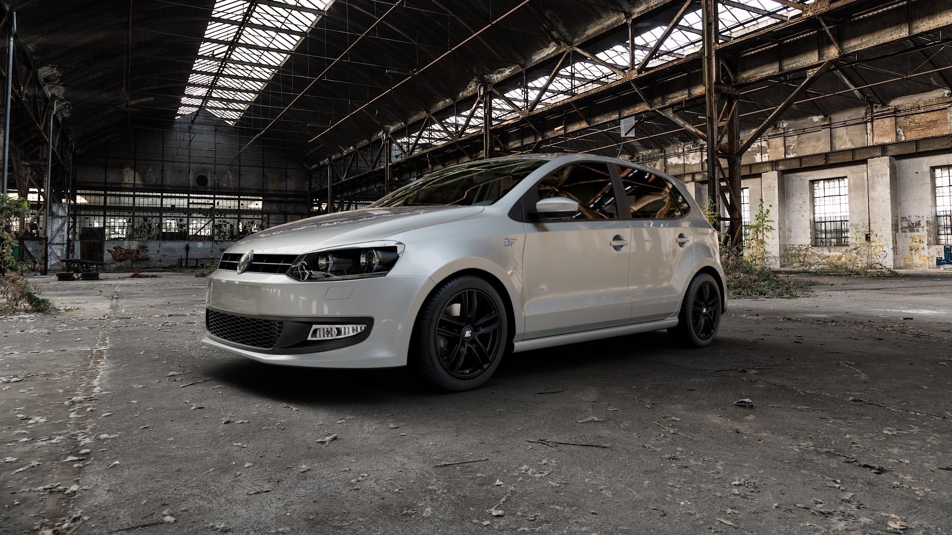 RC Design RC27 schwarz-matt lackiert Felge mit Reifen in 16Zoll Winterfelge Alufelge auf silbernem Volkswagen (VW) Polo V Typ 6R ⬇️ mit 15mm Tieferlegung ⬇️ Industriehalle 1 Camera_000