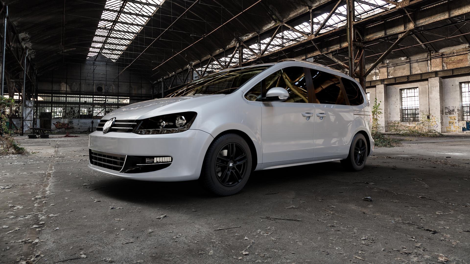 RC Design RC27 schwarz-matt lackiert Felge mit Reifen in 16Zoll Winterfelge Alufelge auf silbernem Volkswagen (VW) Sharan II Typ 7N ⬇️ mit 15mm Tieferlegung ⬇️ Industriehalle 1 Camera_000