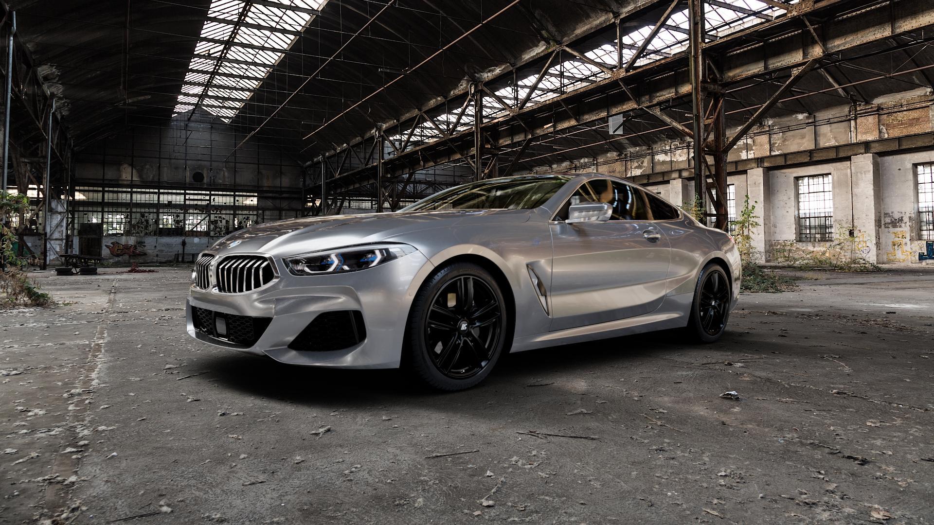 RC Design RC27 schwarz-matt lackiert Felge mit Reifen in 19Zoll Winterfelge Alufelge auf silbernem BMW 840d xDrive Typ G15 M850i 840i ⬇️ mit 15mm Tieferlegung ⬇️ Industriehalle 1 Camera_000