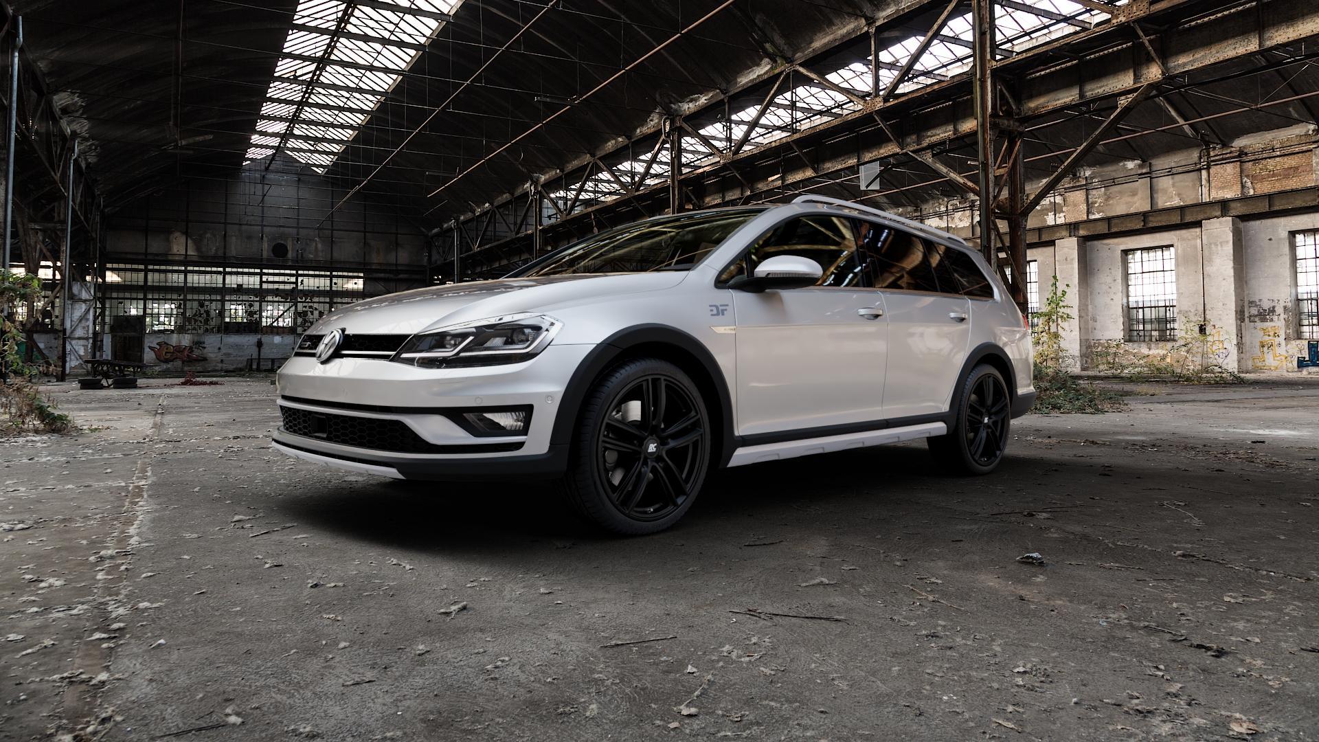 RC Design RC27 schwarz-matt lackiert Felge mit Reifen in 19Zoll Winterfelge Alufelge auf silbernem Volkswagen (VW) Golf 7 Alltrack 2,0l TDI 4Motion 135kW (184 PS) ⬇️ mit 15mm Tieferlegung ⬇️ Industriehalle 1 Camera_000