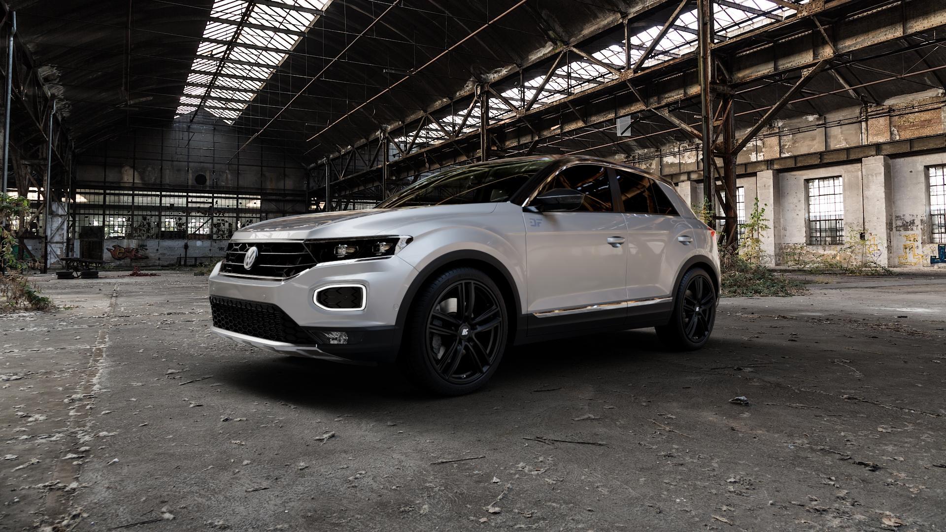 RC Design RC27 schwarz-matt lackiert Felge mit Reifen in 19Zoll Winterfelge Alufelge auf silbernem Volkswagen (VW) T-Roc ⬇️ mit 15mm Tieferlegung ⬇️ Industriehalle 1 Camera_000