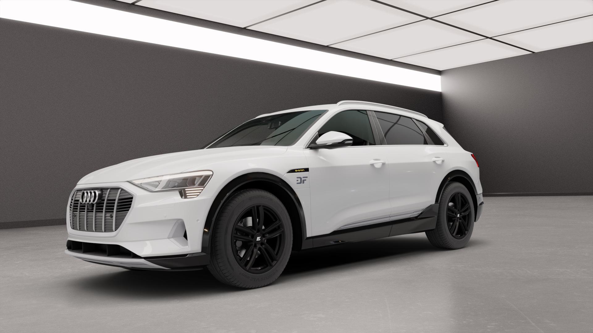 RC Design RC27 schwarz-matt lackiert Felge mit Reifen in 19Zoll Winterfelge Alufelge auf weissem Audi E-Tron Typ GE S ⬇️ mit 15mm Tieferlegung ⬇️ Neutral_mid_max5300mm Frontansicht_1