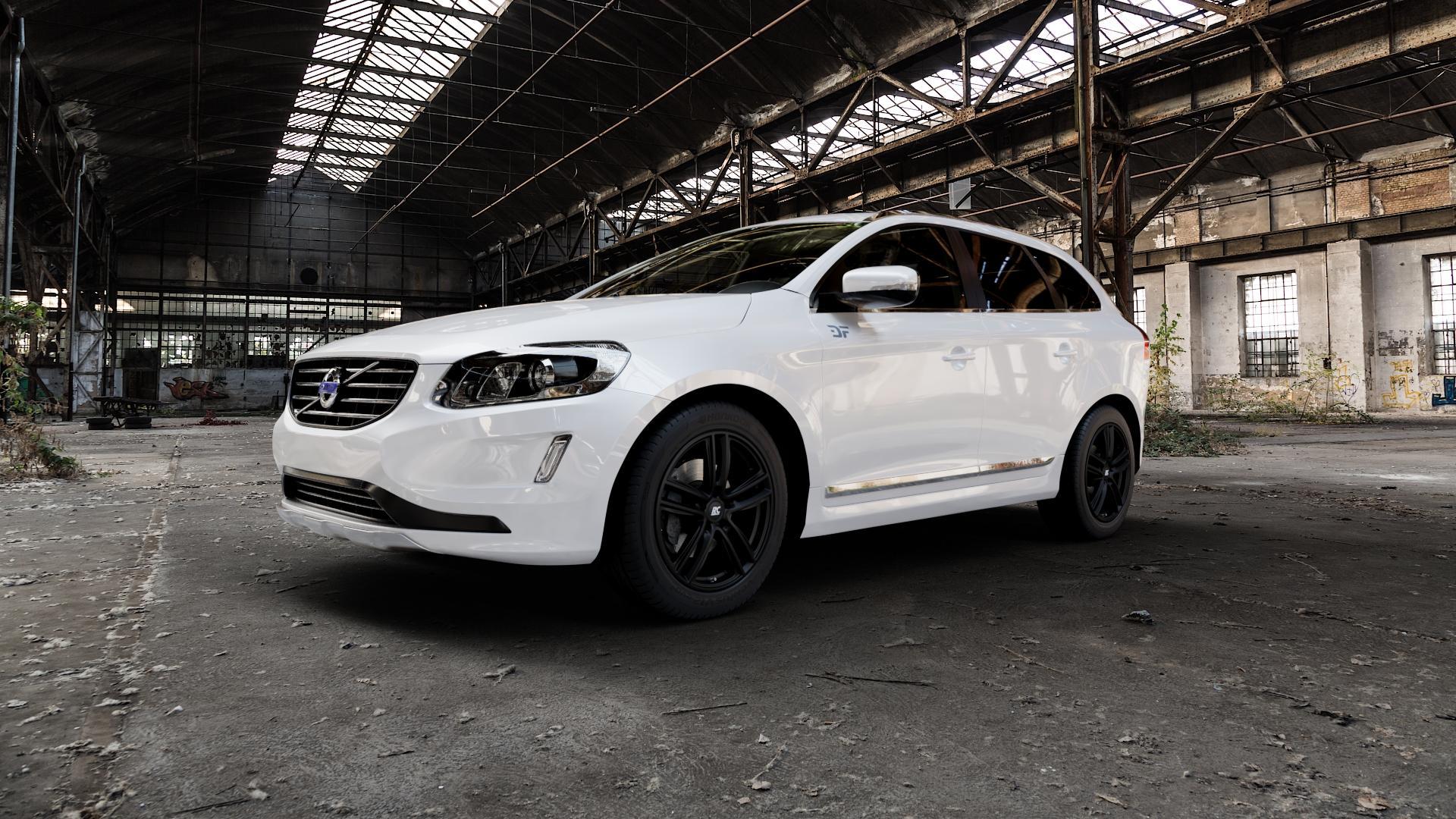 RC Design RC27 schwarz-matt lackiert Felge mit Reifen in 19Zoll Winterfelge Alufelge auf weissem Volvo XC60 Typ D Facelift ⬇️ mit 15mm Tieferlegung ⬇️ Industriehalle 1 Camera_000