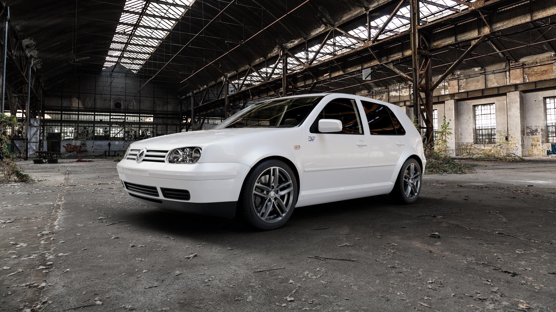 RC Design RC29 dark-sparkle lackiert Felge mit Reifen grau in 17Zoll Winterfelge Alufelge auf weissem Volkswagen (VW) Golf 4 ⬇️ mit 15mm Tieferlegung ⬇️ Industriehalle 1 Camera_000