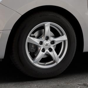 RC Design RC30 kristallsilber lackiert Felge mit Reifen in 14Zoll Winterfelge Alufelge auf silbernem Dacia Logan II Typ SD ⬇️ mit 15mm Tieferlegung ⬇️ Industriehalle 1 Thumbnail