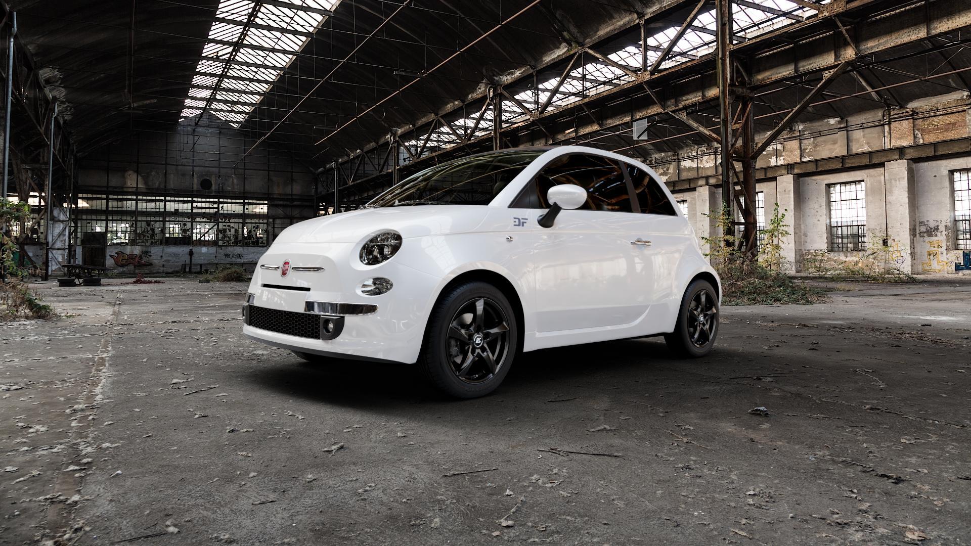 RC Design RC30 schwarz lackiert Felge mit Reifen in 15Zoll Winterfelge Alufelge auf weissem Fiat 500 Typ 312 Cabrio Facelift ⬇️ mit 15mm Tieferlegung ⬇️ Industriehalle 1 Camera_000