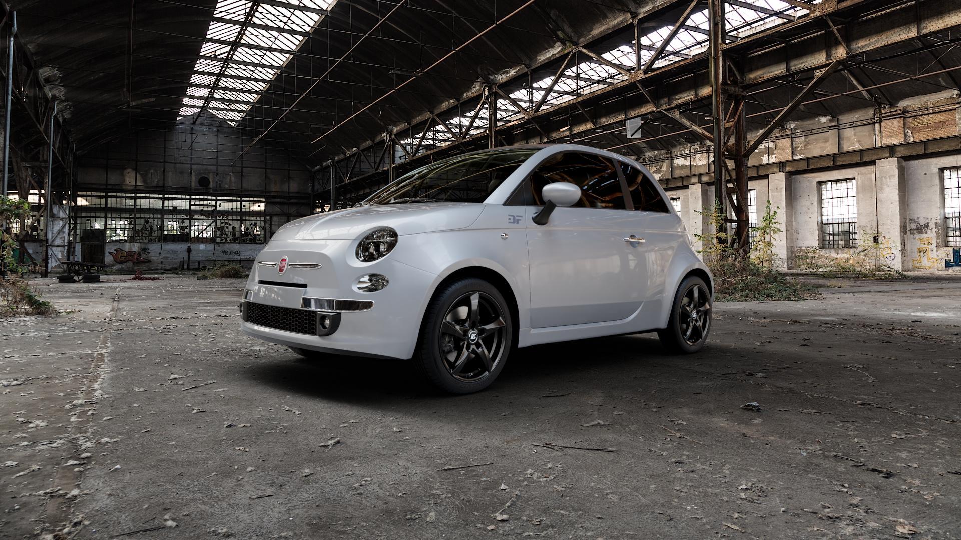 RC Design RC30 schwarz lackiert Felge mit Reifen in 16Zoll Winterfelge Alufelge auf silbernem Fiat 500 Typ 312 Cabrio Facelift ⬇️ mit 15mm Tieferlegung ⬇️ Industriehalle 1 Camera_000