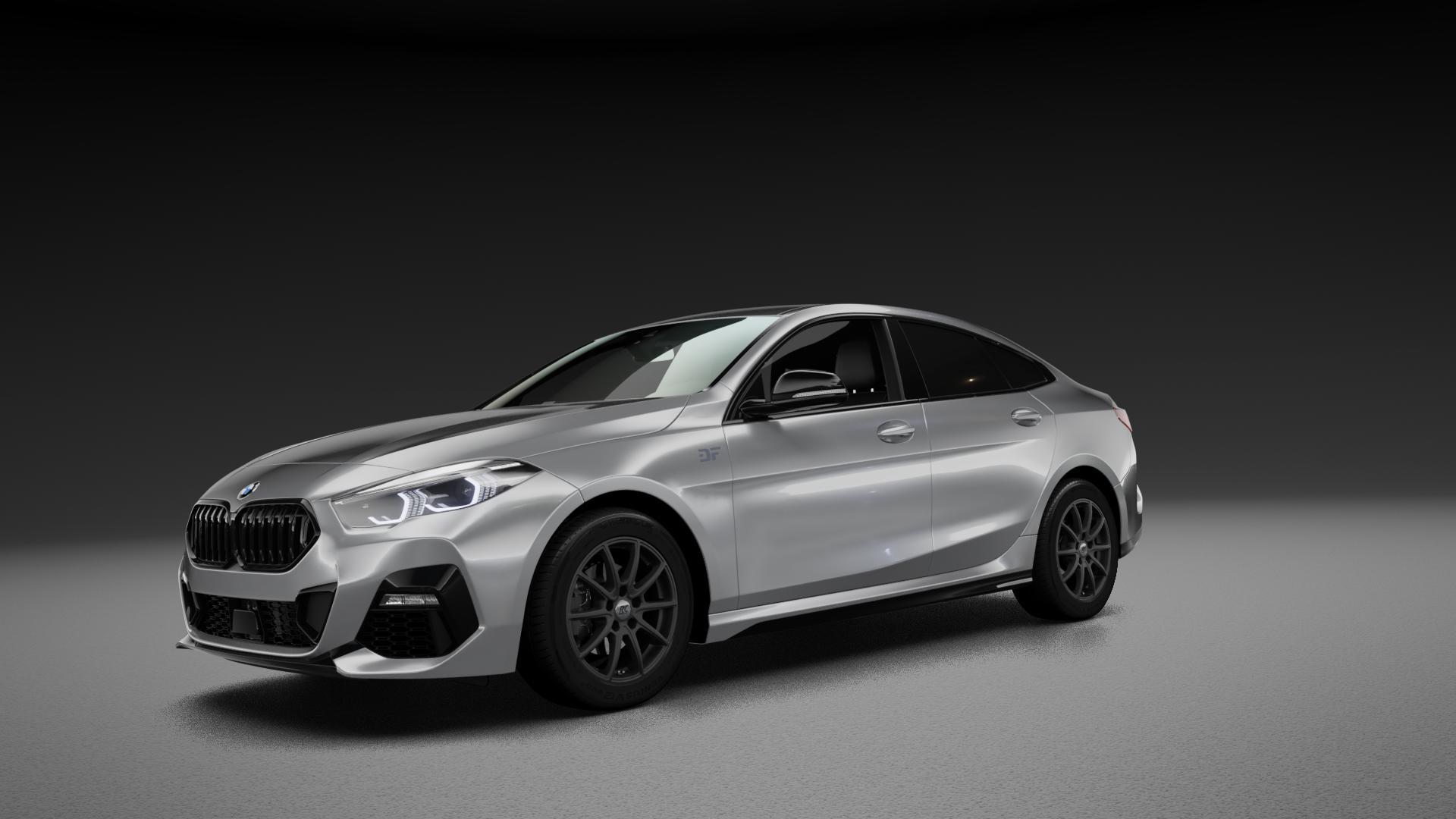 RC Design RC32 satin-black matt-lackiert Felge mit Reifen schwarz in 16Zoll Winterfelge Alufelge auf silbernem BMW 216d Typ F44 (Gran Coupe) 218i 220d 2 M235i xDrive 218d ⬇️ mit 15mm Tieferlegung ⬇️ Neutral_mid_max5300mm Frontansicht_1