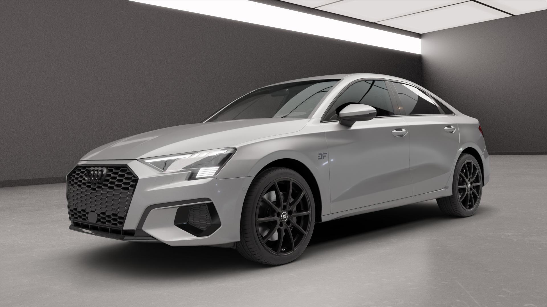 RC Design RC32 satin-black matt-lackiert Felge mit Reifen schwarz in 18Zoll Winterfelge Alufelge auf silbernem Audi A3 Typ GY (Limousine) ⬇️ mit 15mm Tieferlegung ⬇️ Neutral_near_max4650mm Frontansicht_1