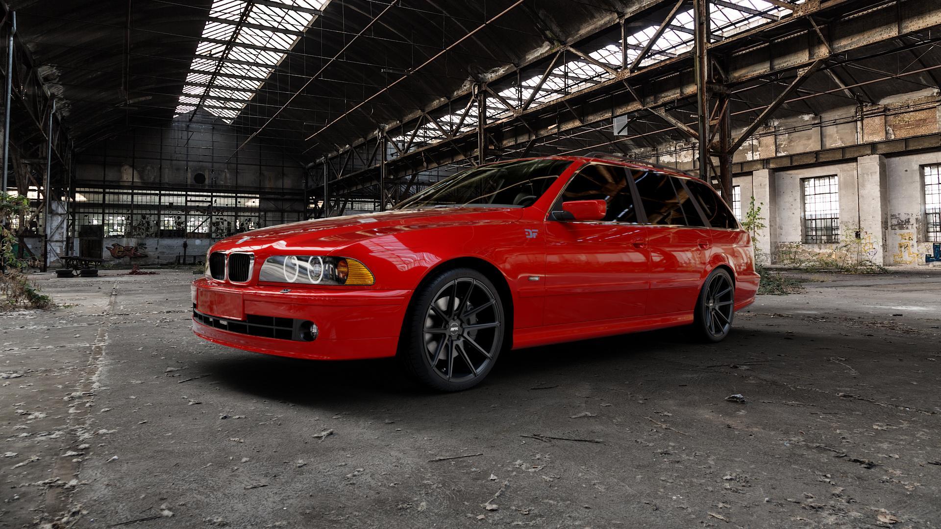 RFK Wheels GLS302 satin black Felge mit Reifen schwarz in 19Zoll Winterfelge Alufelge auf rotem BMW 520i Typ E39 (Limousine) 523i 525i 528i 530i 520d 525tds 530d 525d (Touring) 535i 540i 525td ⬇️ mit 15mm Tieferlegung ⬇️ Industriehalle 1 Camera_000