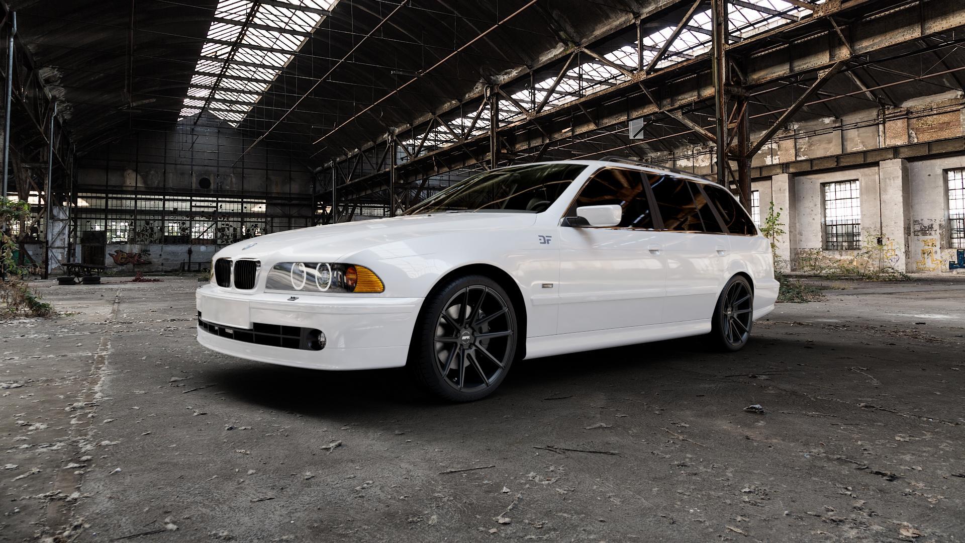 RFK Wheels GLS302 satin black Felge mit Reifen schwarz in 19Zoll Winterfelge Alufelge auf weissem BMW 520i Typ E39 (Limousine) 523i 525i 528i 530i 520d 525tds 530d 525d (Touring) 535i 540i 525td ⬇️ mit 15mm Tieferlegung ⬇️ Industriehalle 1 Camera_000
