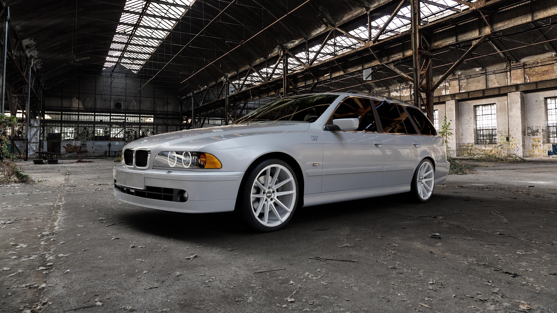 RFK Wheels GLS302 sparkling silver Felge mit Reifen silber in 19Zoll Winterfelge Alufelge auf silbernem BMW 520i Typ E39 (Limousine) 523i 525i 528i 530i 520d 525tds 530d 525d (Touring) 535i 540i 525td ⬇️ mit 15mm Tieferlegung ⬇️ Industriehalle 1 Camera_000