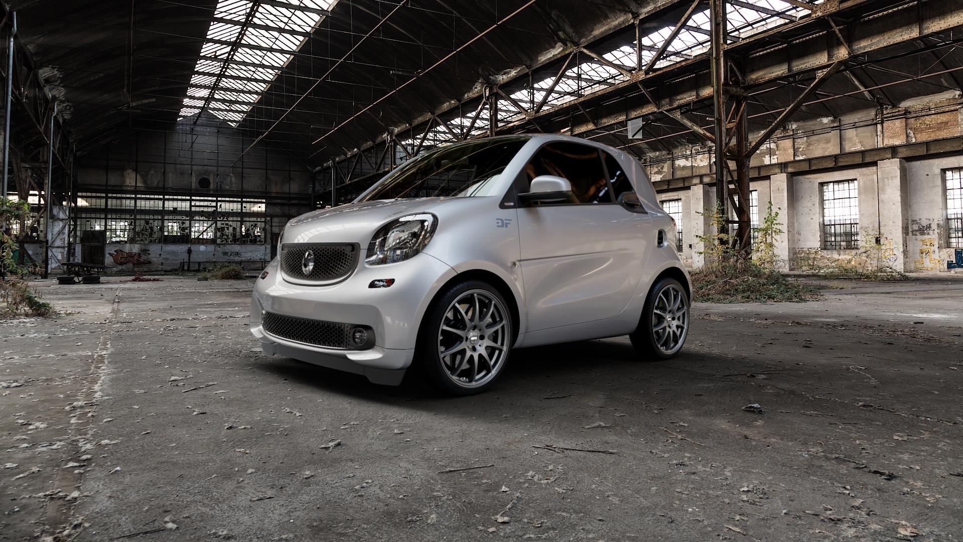 RFK Wheels SLS401 matt graphite Felge mit Reifen grau in 17Zoll Winterfelge Alufelge auf silbernem Smart Fortwo Coupe III (14-) (453) Cabrio (16-) ⬇️ mit 15mm Tieferlegung ⬇️ Industriehalle 1 Camera_000