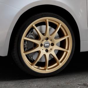RFK Wheels SLS401 satin gold Felge mit Reifen in 17Zoll Winterfelge Alufelge auf silbernem Fiat 500 Typ 312 Cabrio Facelift ⬇️ mit 15mm Tieferlegung ⬇️ Industriehalle 1 Thumbnail