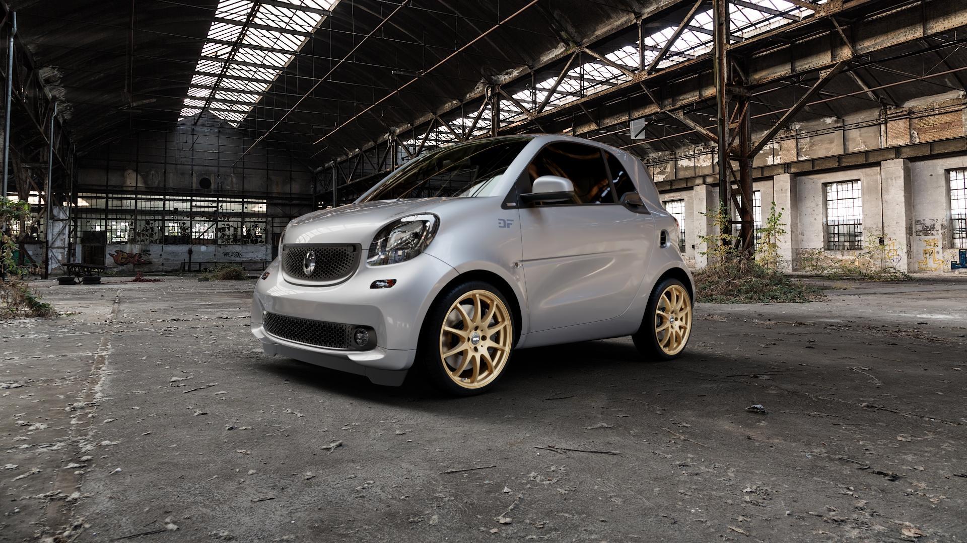 RFK Wheels SLS401 satin gold Felge mit Reifen in 17Zoll Winterfelge Alufelge auf silbernem Smart Fortwo Coupe III (14-) (453) Cabrio (16-) ⬇️ mit 15mm Tieferlegung ⬇️ Industriehalle 1 Camera_000