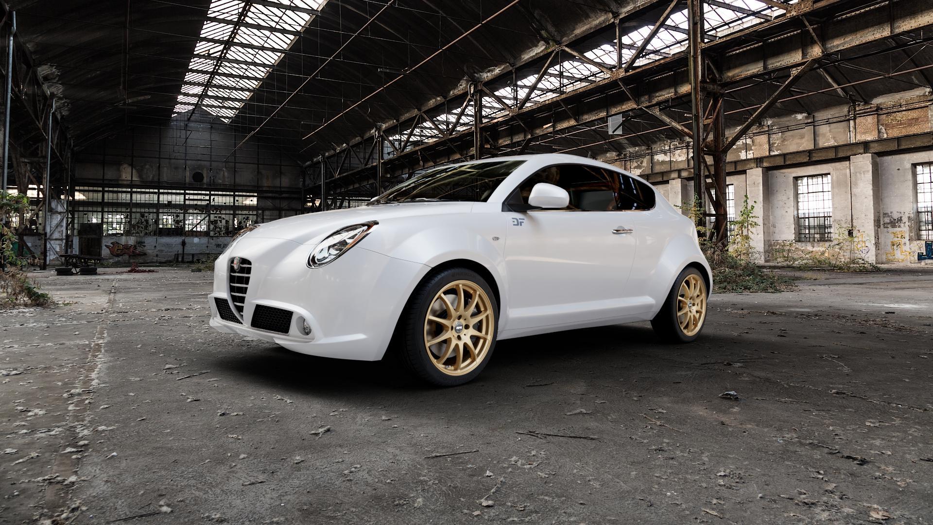 RFK Wheels SLS401 satin gold Felge mit Reifen in 17Zoll Winterfelge Alufelge auf weissem Alfa Romeo Mito Typ 955 ⬇️ mit 15mm Tieferlegung ⬇️ Industriehalle 1 Camera_000