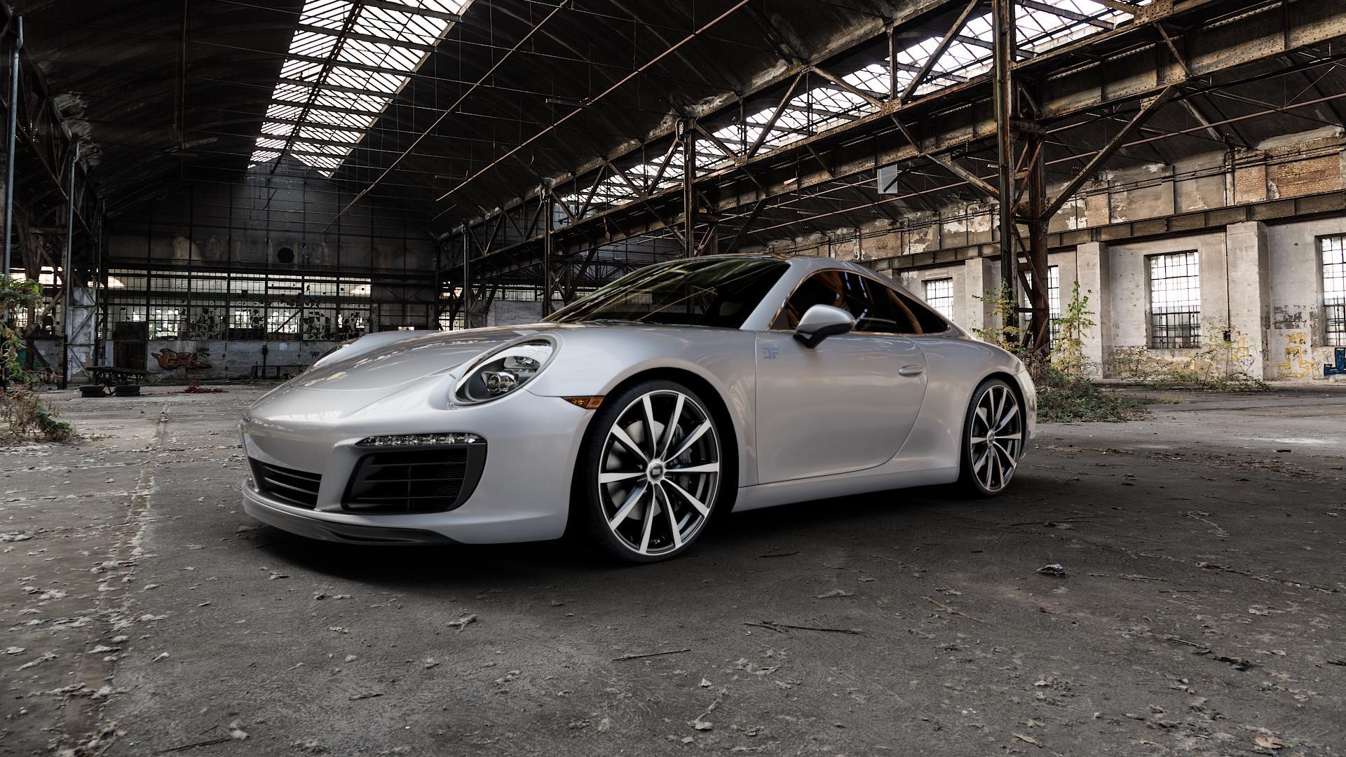 RH ALURAD GT Schwarz voll poliert Felge mit Reifen silber mehrfarbig in 21Zoll Alufelge auf silbernem Porsche 911 Typ 991 Cabriolet Facelift ⬇️ mit 15mm Tieferlegung ⬇️ Industriehalle 1 Camera_000