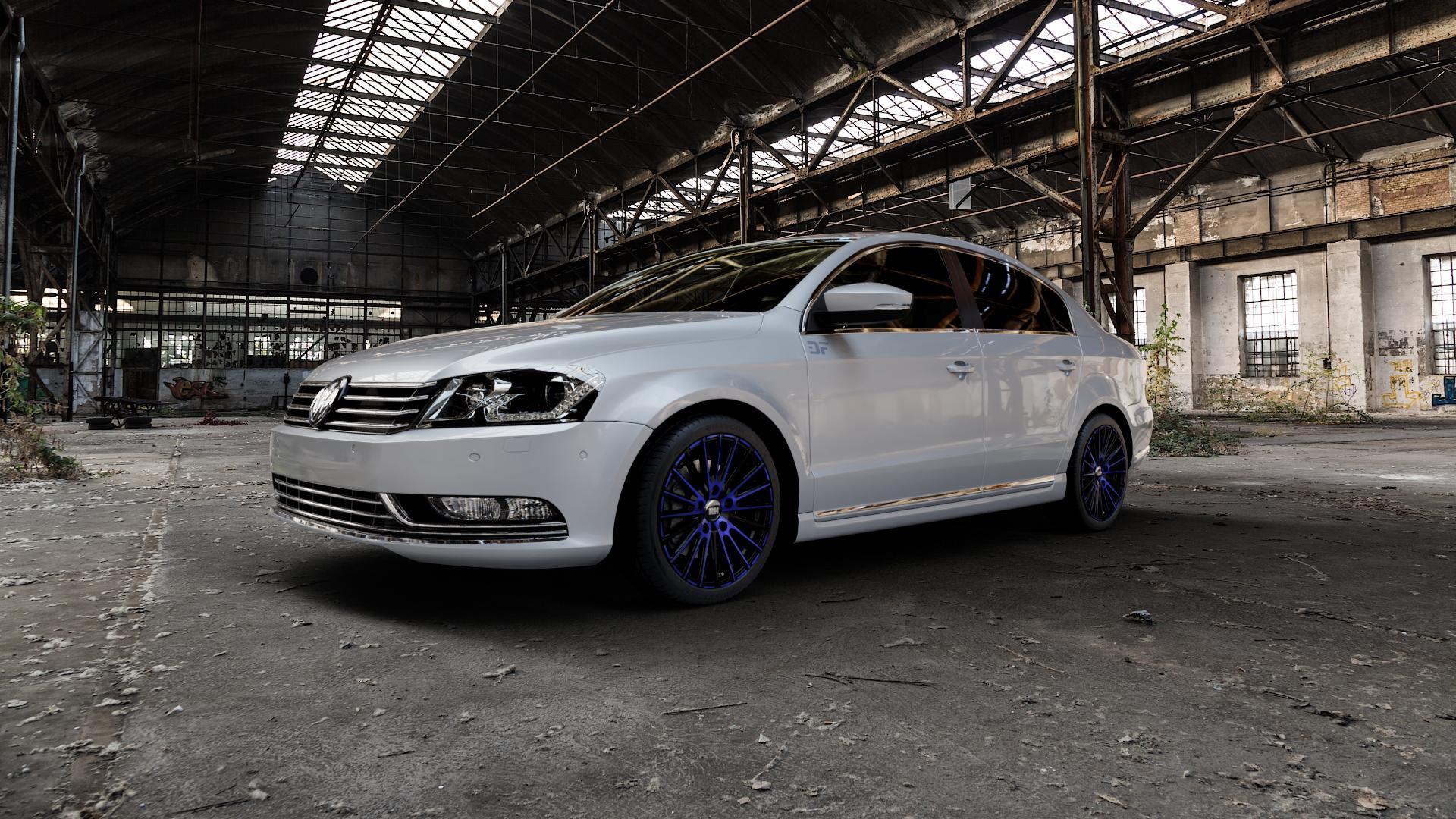 RH ALURAD WM Flowforming color polished - blue Felge mit Reifen blau in 18Zoll Alufelge auf silbernem Volkswagen (VW) Passat 3C/B7 Limousine ⬇️ mit 15mm Tieferlegung ⬇️ Industriehalle 1 Camera_000