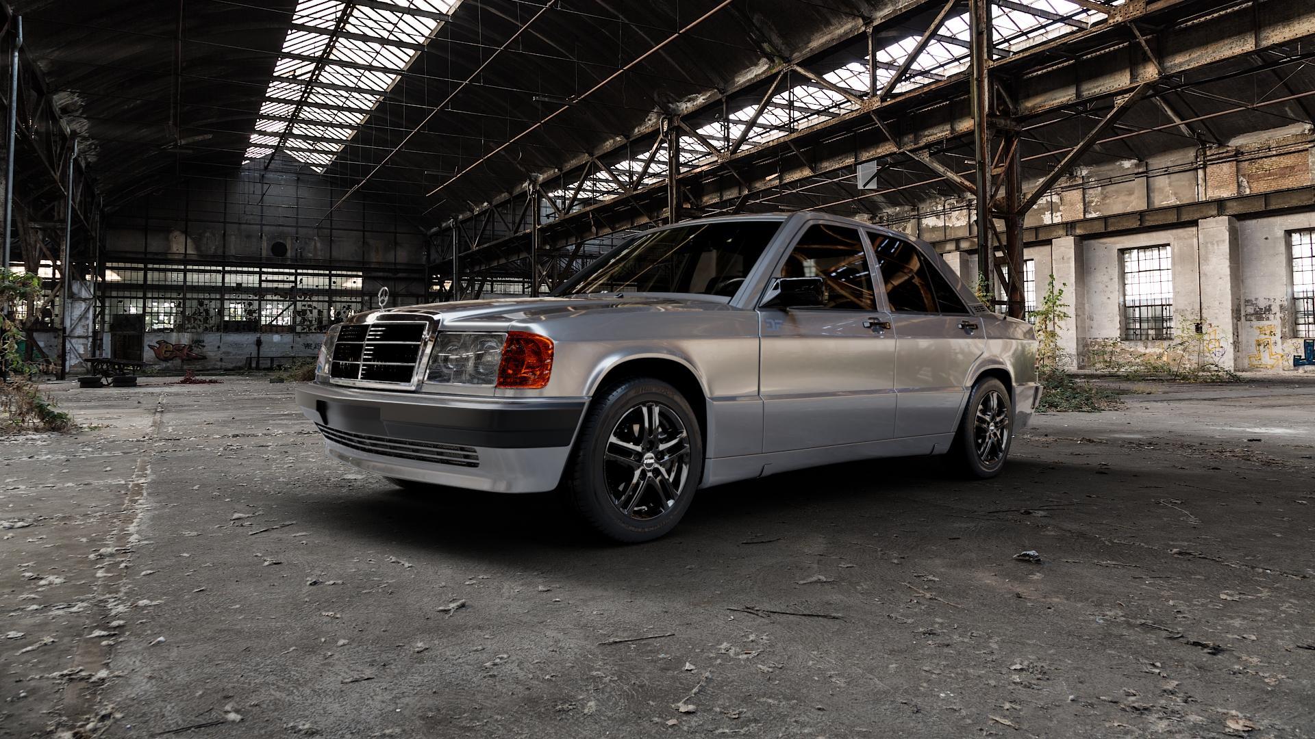 RIAL Bavaro diamant-schwarz Felge mit Reifen in 15Zoll Winterfelge Alufelge auf silbernem Mercedes 190 Typ W201 ⬇️ mit 15mm Tieferlegung ⬇️ Industriehalle 1 Camera_000
