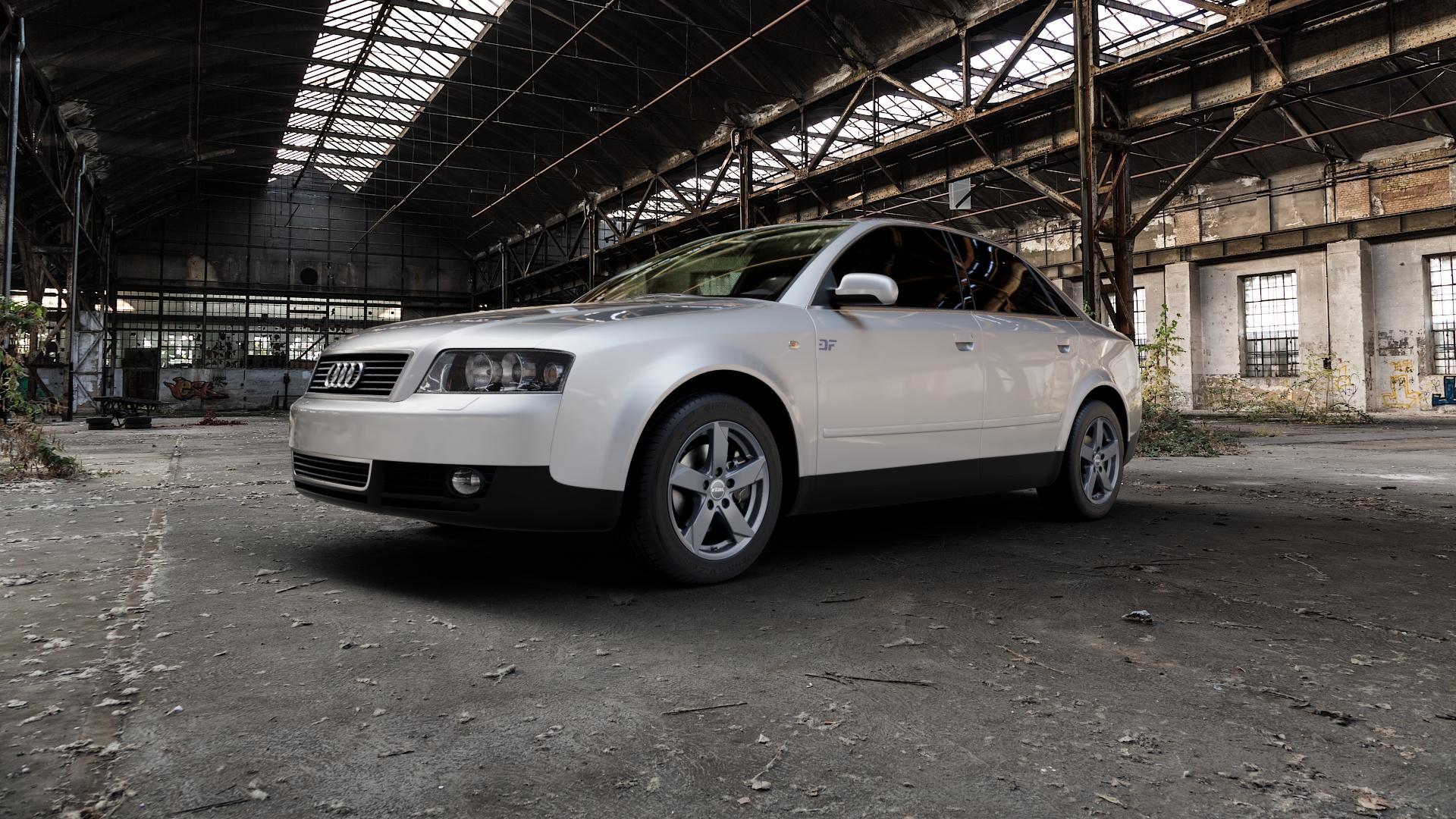 RIAL Kodiak graphit Felge mit Reifen grau in 16Zoll Winterfelge Alufelge auf silbernem Audi A4 Typ 8E2/B6 (Limousine) ⬇️ mit 15mm Tieferlegung ⬇️ Industriehalle 1 Camera_000