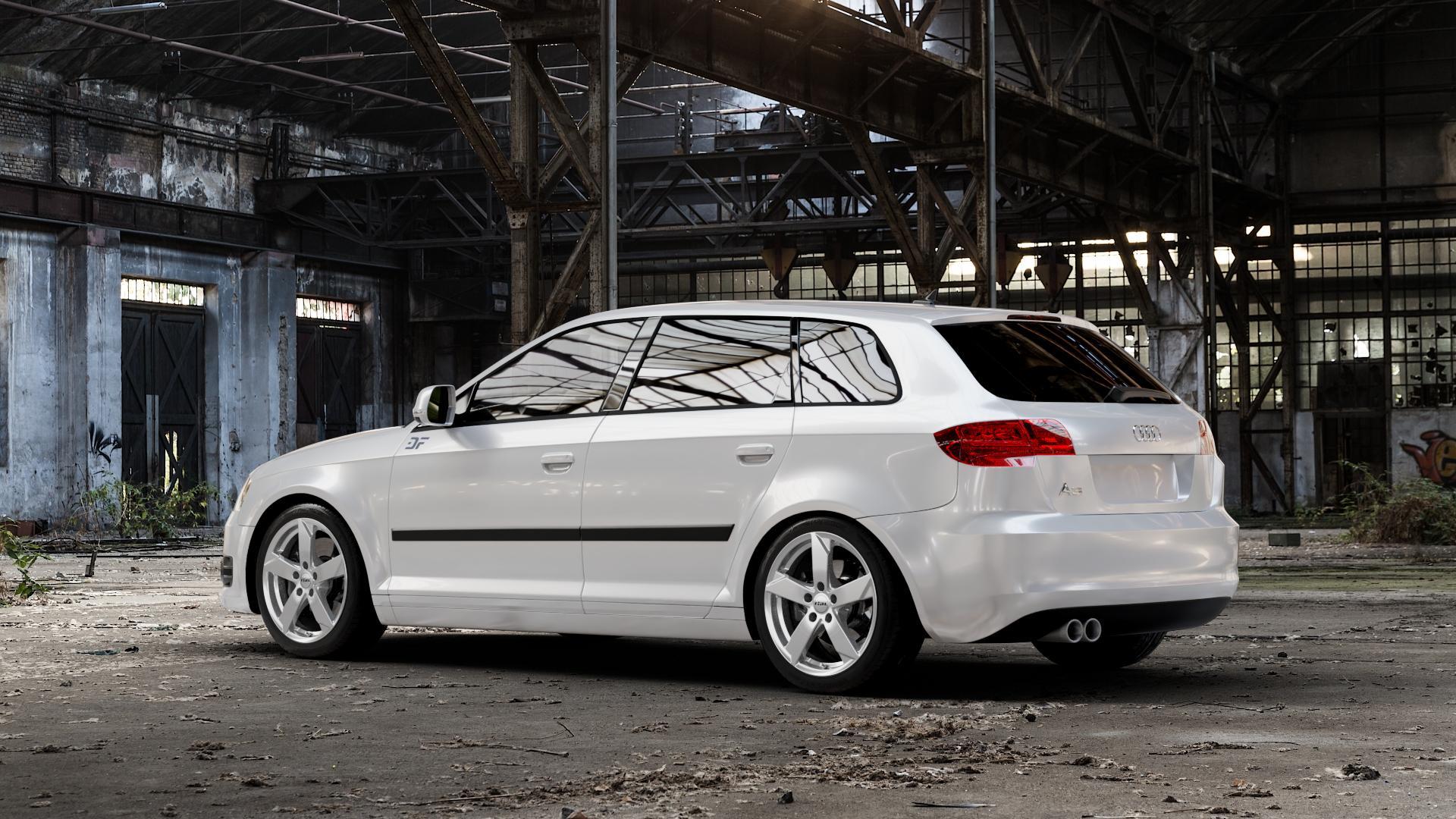 RIAL Kodiak polar-silber Felge mit Reifen in 17Zoll Winterfelge Alufelge auf weissem Audi A3 Typ 8P (Sportback) 1,6l 75kW (102 PS) 2,0l FSI 110kW (150 1,9l TDI 77kW (105 103kW (140 TFSI 147kW (200 85kW (116 100kW (136 1,8l 118kW (160 125kW (170 1,4l 92kW (125 120kW (163 quattro 3,2l V6 184kW (250 S3 195kW (265 1,2l 66kW (90 18