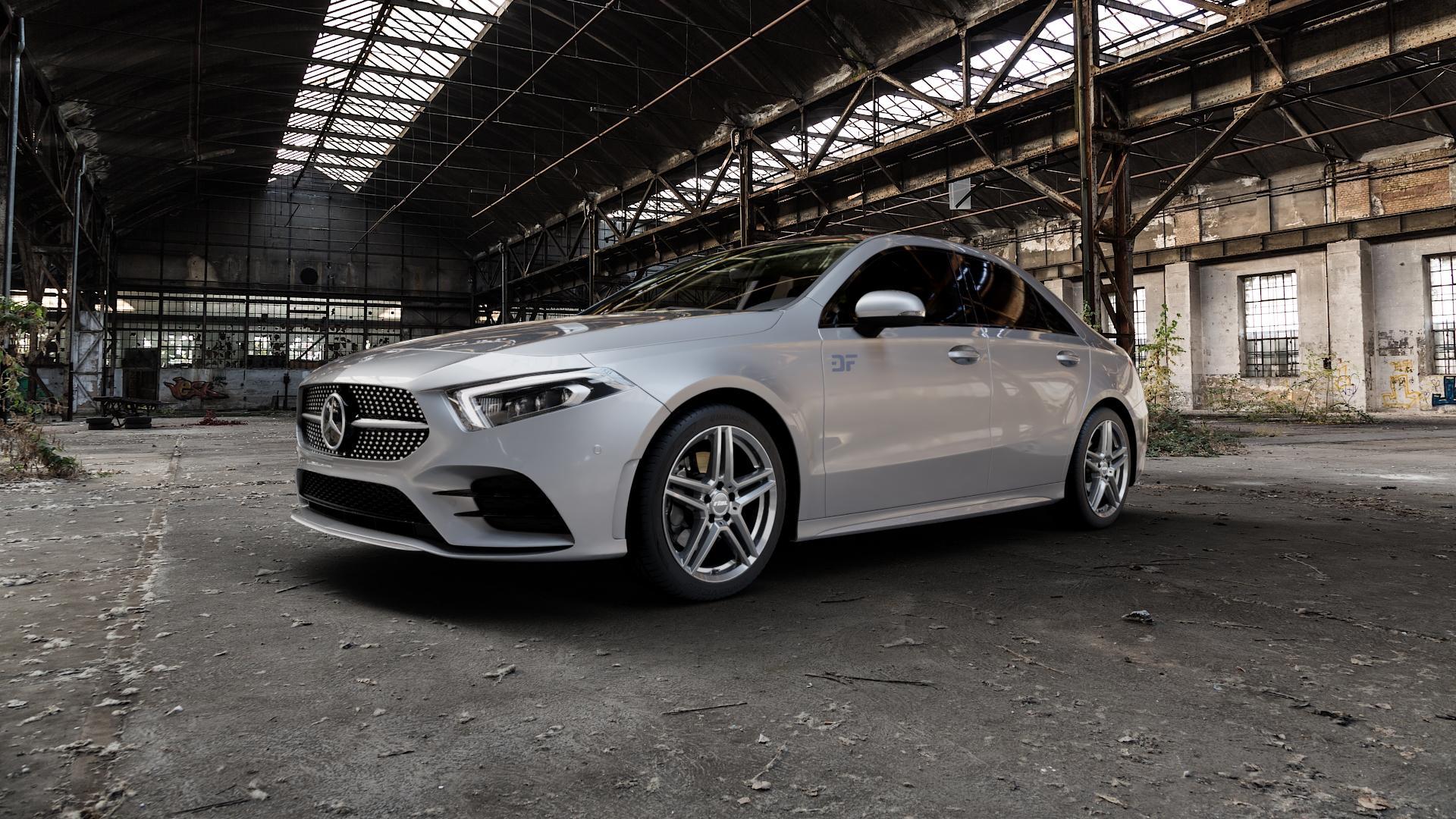 RIAL M10 metal-grey Felge mit Reifen grau in 18Zoll Winterfelge Alufelge auf silbernem Mercedes A-Klasse IV Typ 177 (F2A) Limousine ⬇️ mit 15mm Tieferlegung ⬇️ Industriehalle 1 Camera_000