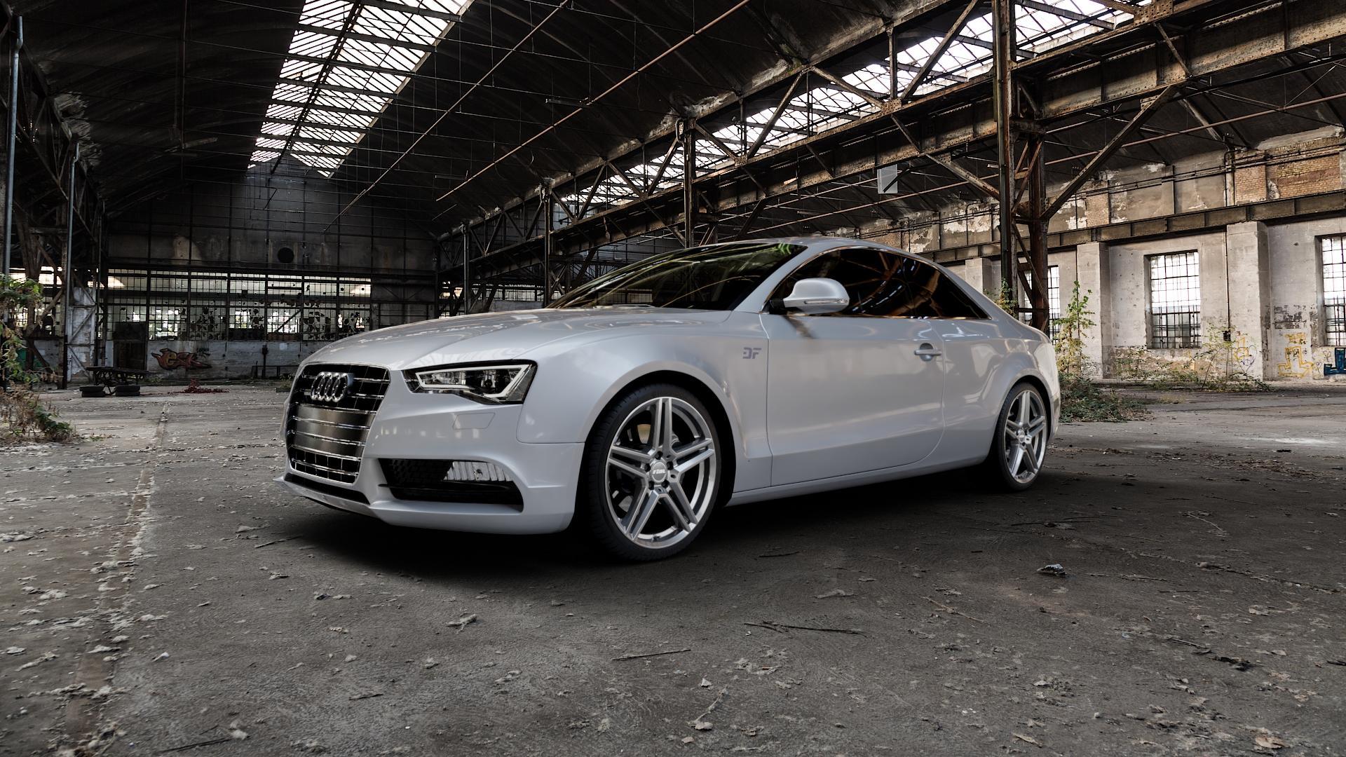 RIAL M10 metal-grey Felge mit Reifen grau in 19Zoll Winterfelge Alufelge auf silbernem Audi A5 Typ B8 (Coupé) Facelift ⬇️ mit 15mm Tieferlegung ⬇️ Industriehalle 1 Camera_000