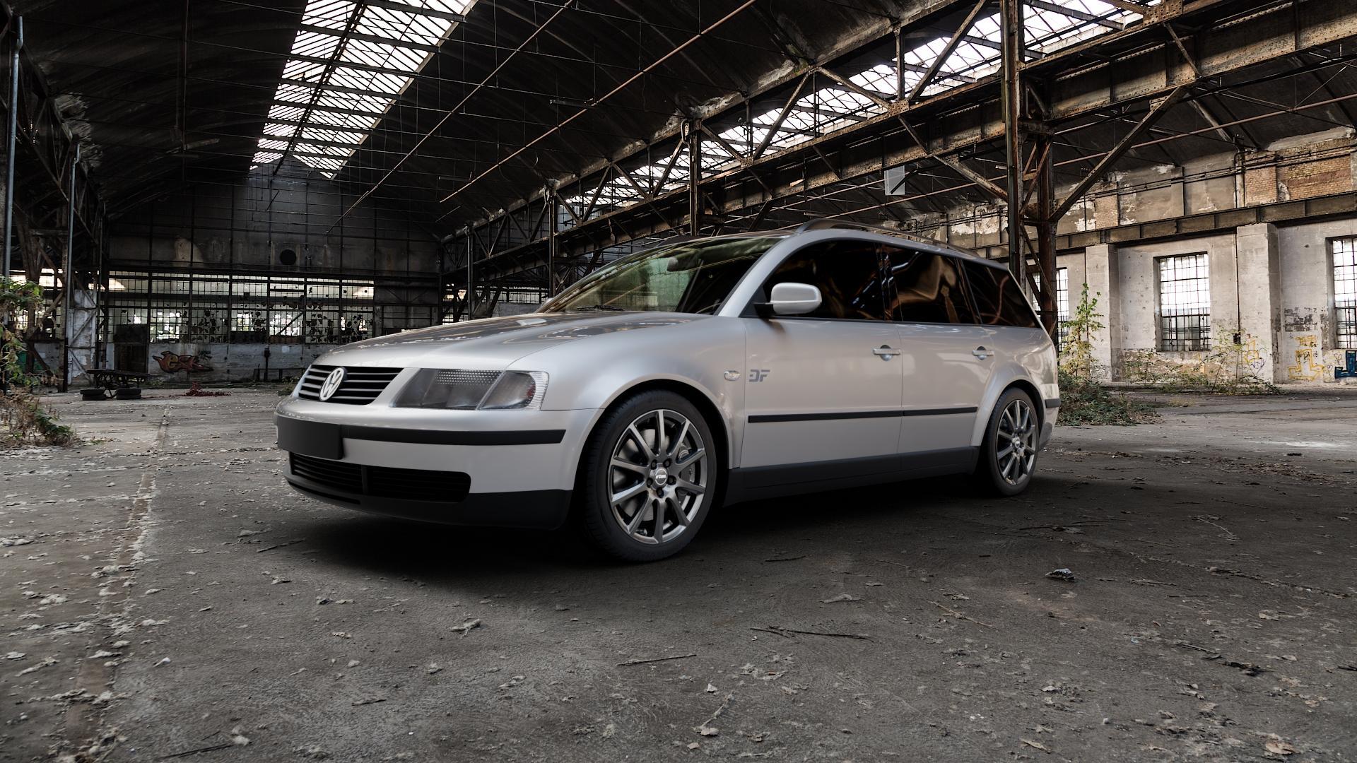 RIAL Milano titanium Felge mit Reifen grau in 17Zoll Winterfelge Alufelge auf silbernem Volkswagen (VW) Passat 3B Limousine Variant ⬇️ mit 15mm Tieferlegung ⬇️ Industriehalle 1 Camera_000
