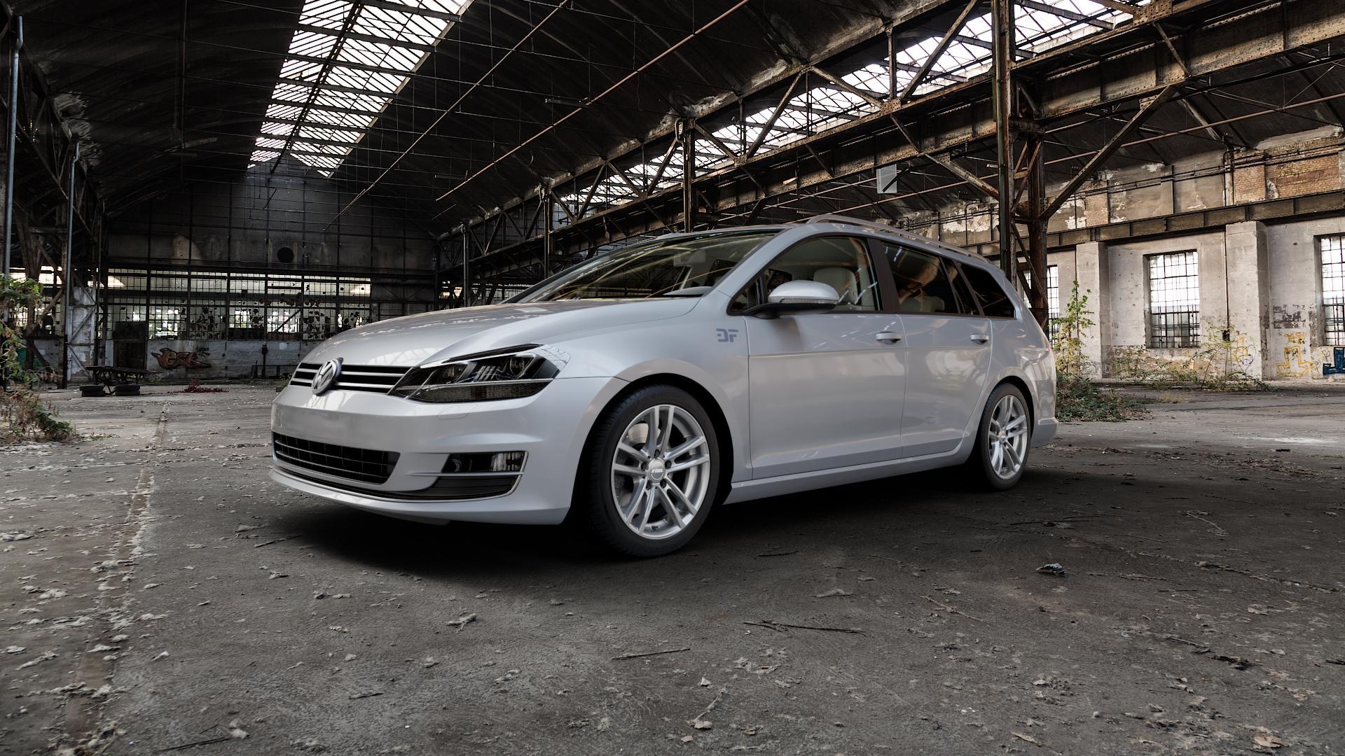 RIAL X10 metal-grey Felge mit Reifen grau in 17Zoll Winterfelge Alufelge auf silbernem Volkswagen (VW) Golf 7 Variant ⬇️ mit 15mm Tieferlegung ⬇️ Industriehalle 1 Camera_000