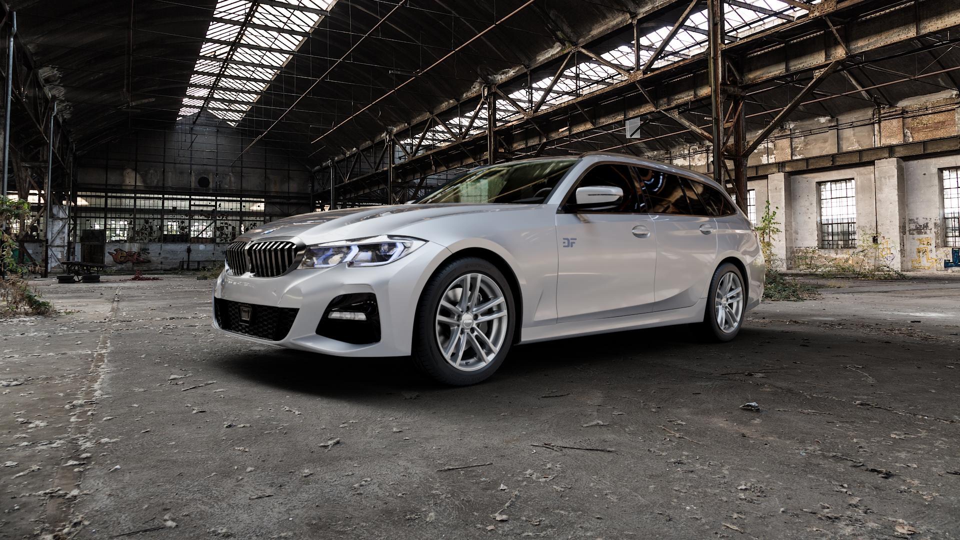 RIAL X10 metal-grey Felge mit Reifen grau in 18Zoll Winterfelge Alufelge auf silbernem BMW 3er G21 Touring (G3K) ⬇️ mit 15mm Tieferlegung ⬇️ Industriehalle 1 Camera_000